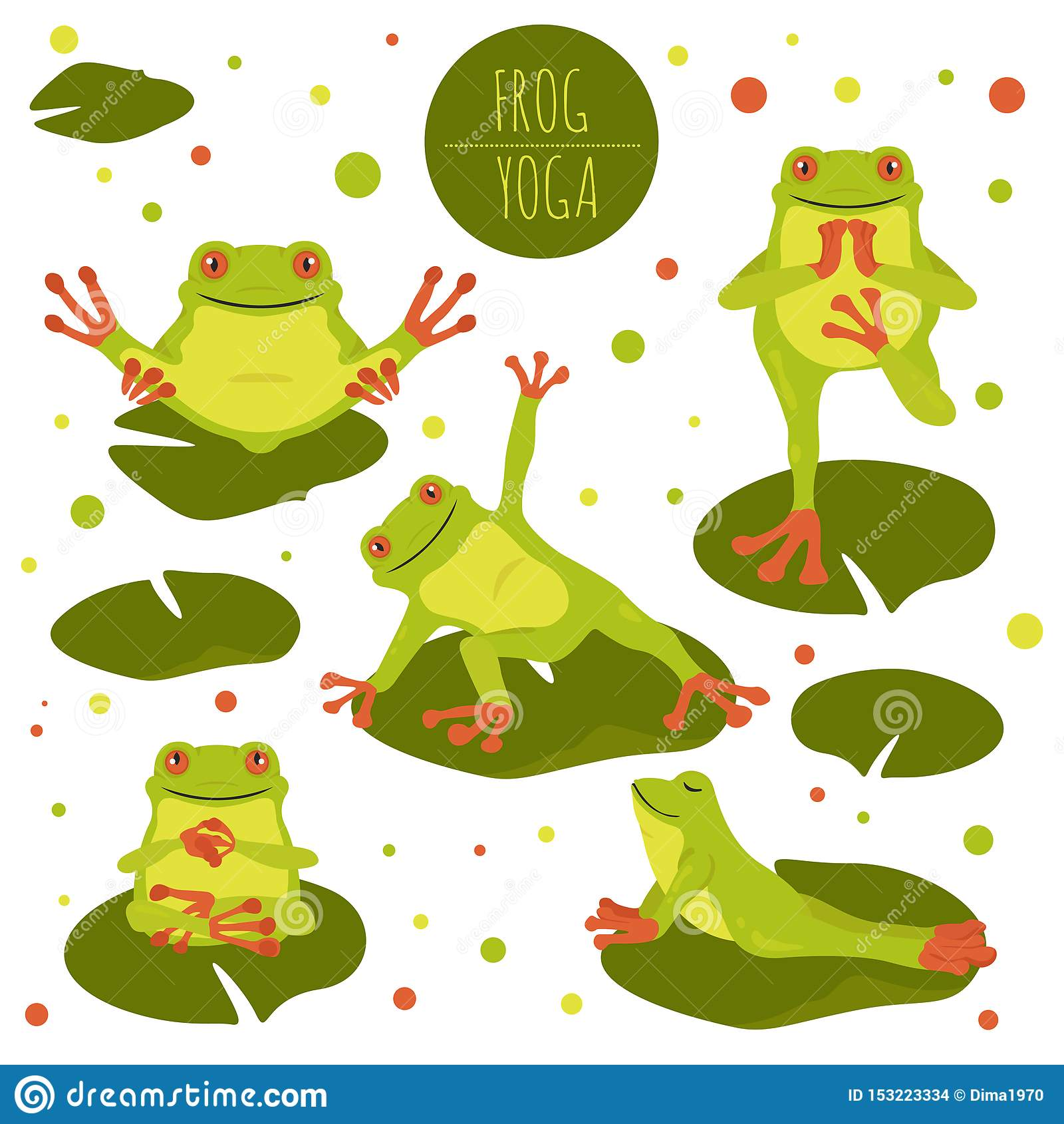 Frog Yoga Poses And Exercises. Cute Cartoon Clipart Set ...
