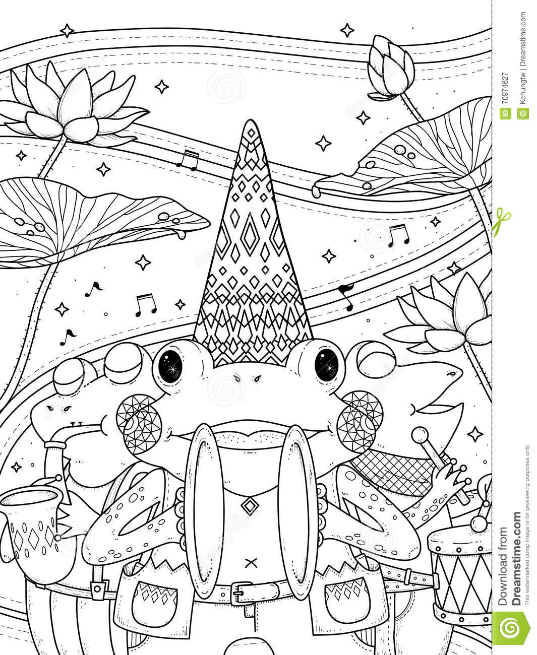 frogs music band coloring page stock illustration image