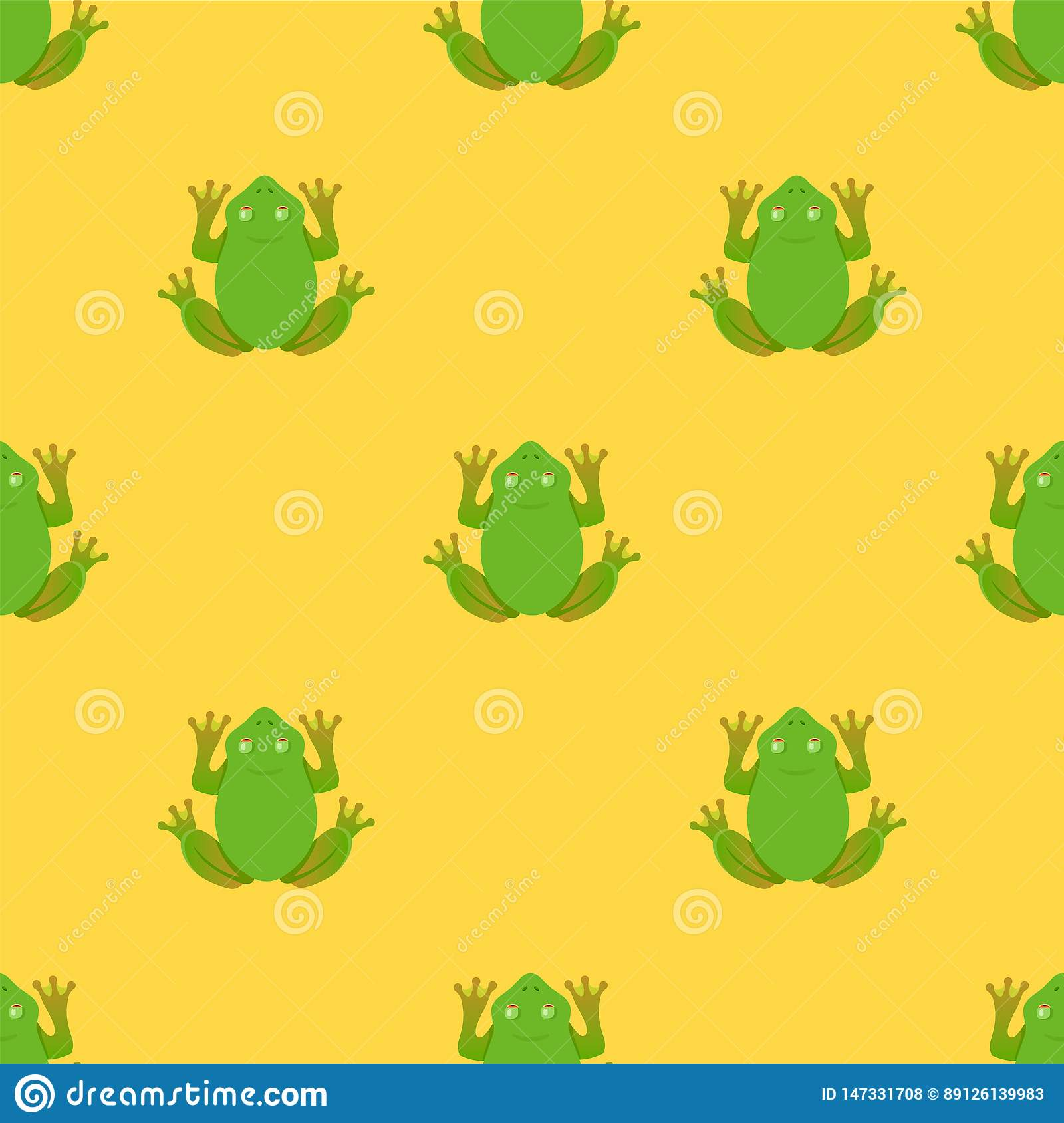 Frogs pattern on yellow background.