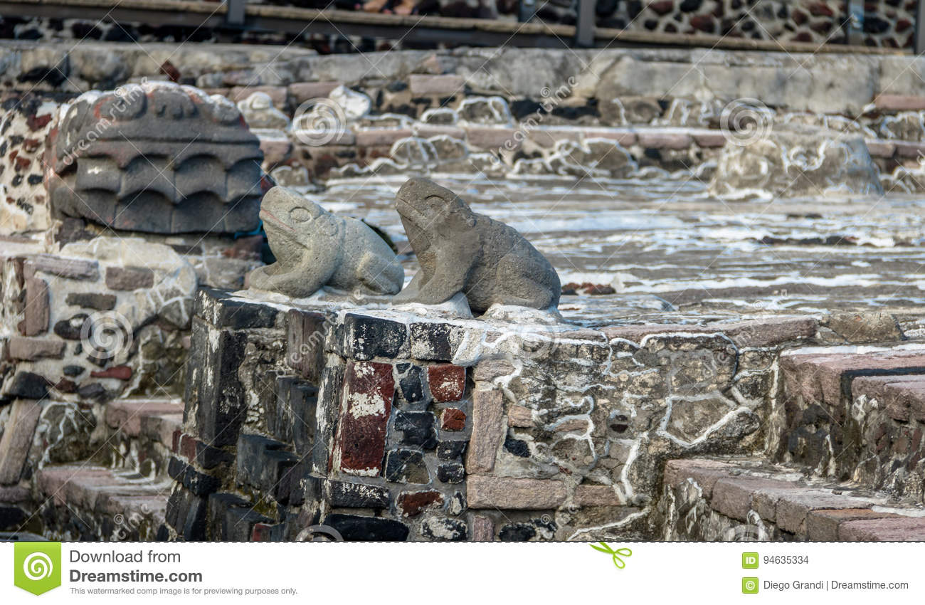 Frogs and Serpent Head Sculptures in Aztec Temple Templo Mayor at ruins of Tenochtitlan - Mexico City, Mexico