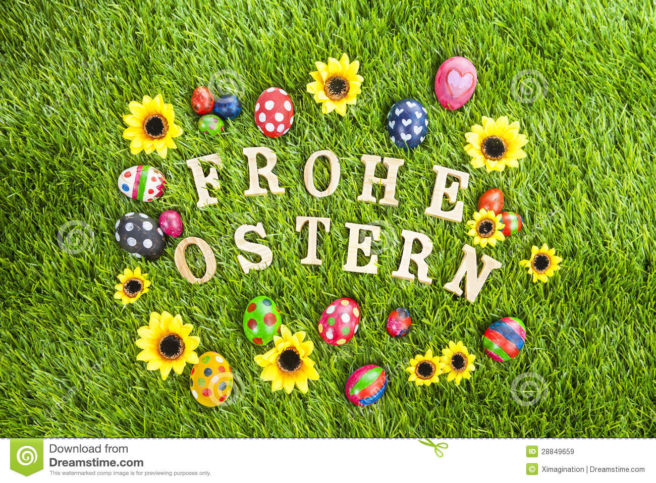 Frohe Ostern Eggs On Grass Royalty Free Stock Images - Image: 28849659