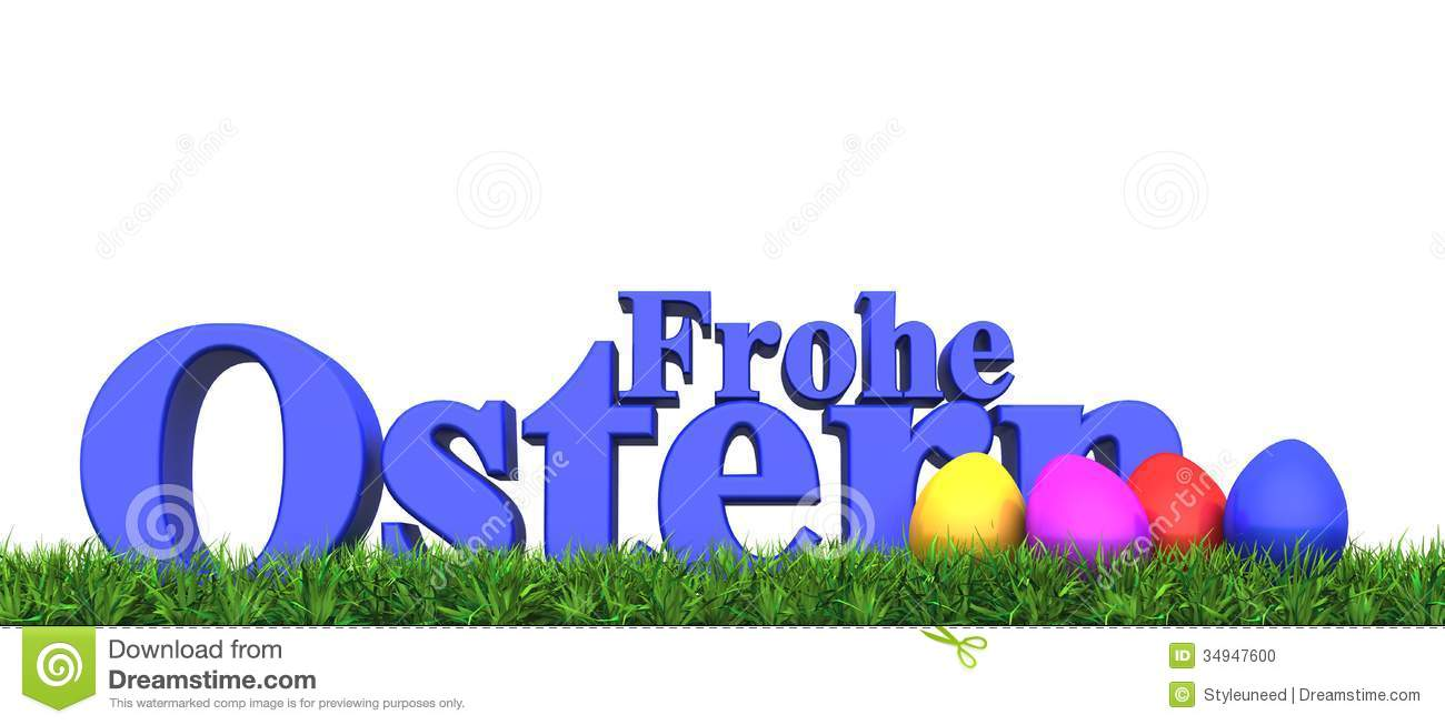 happy Easter illustration with Easter eggs and the text Frohe Ostern ...