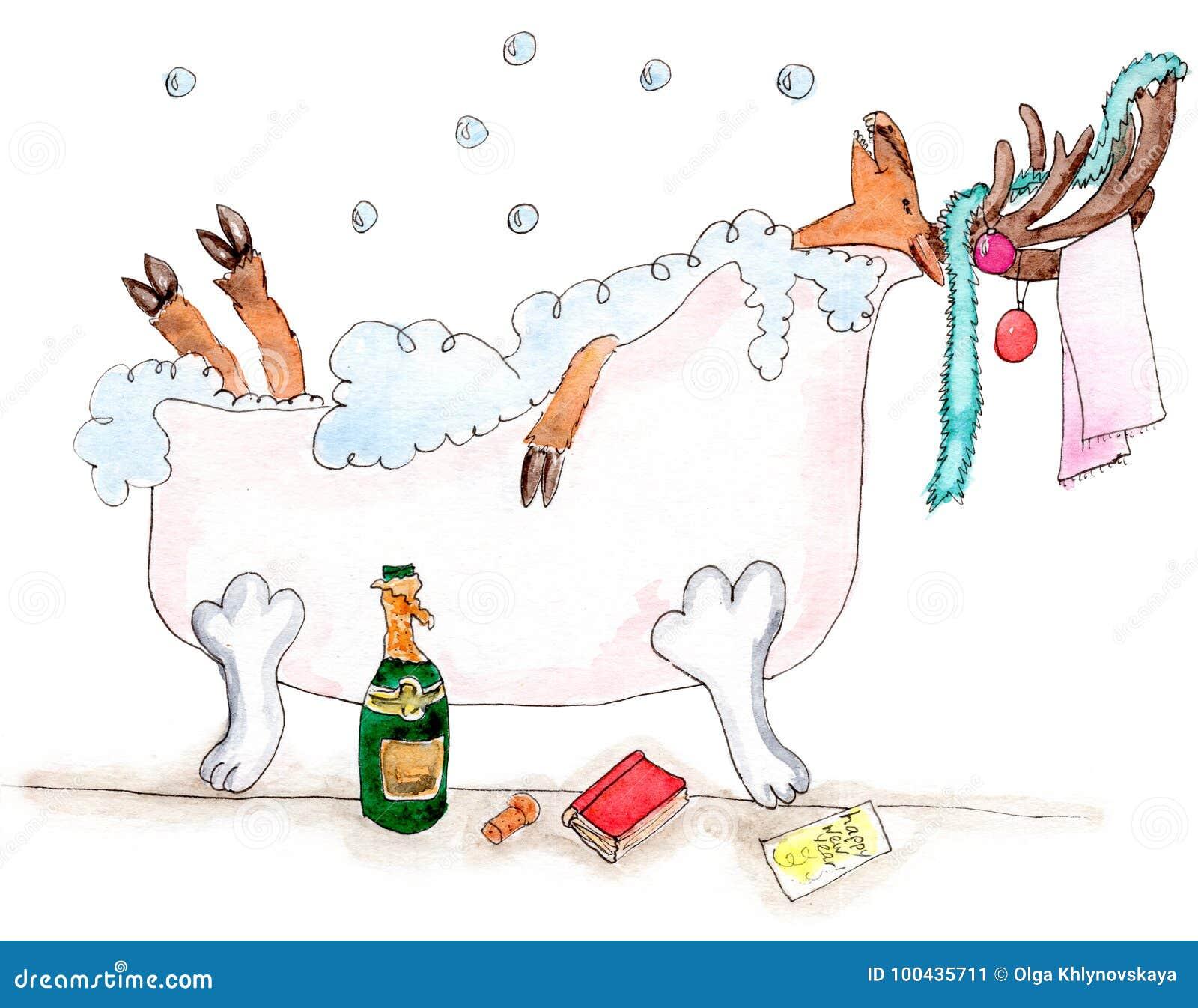 Frohe Rotwild des neuen Jahres im bathtube