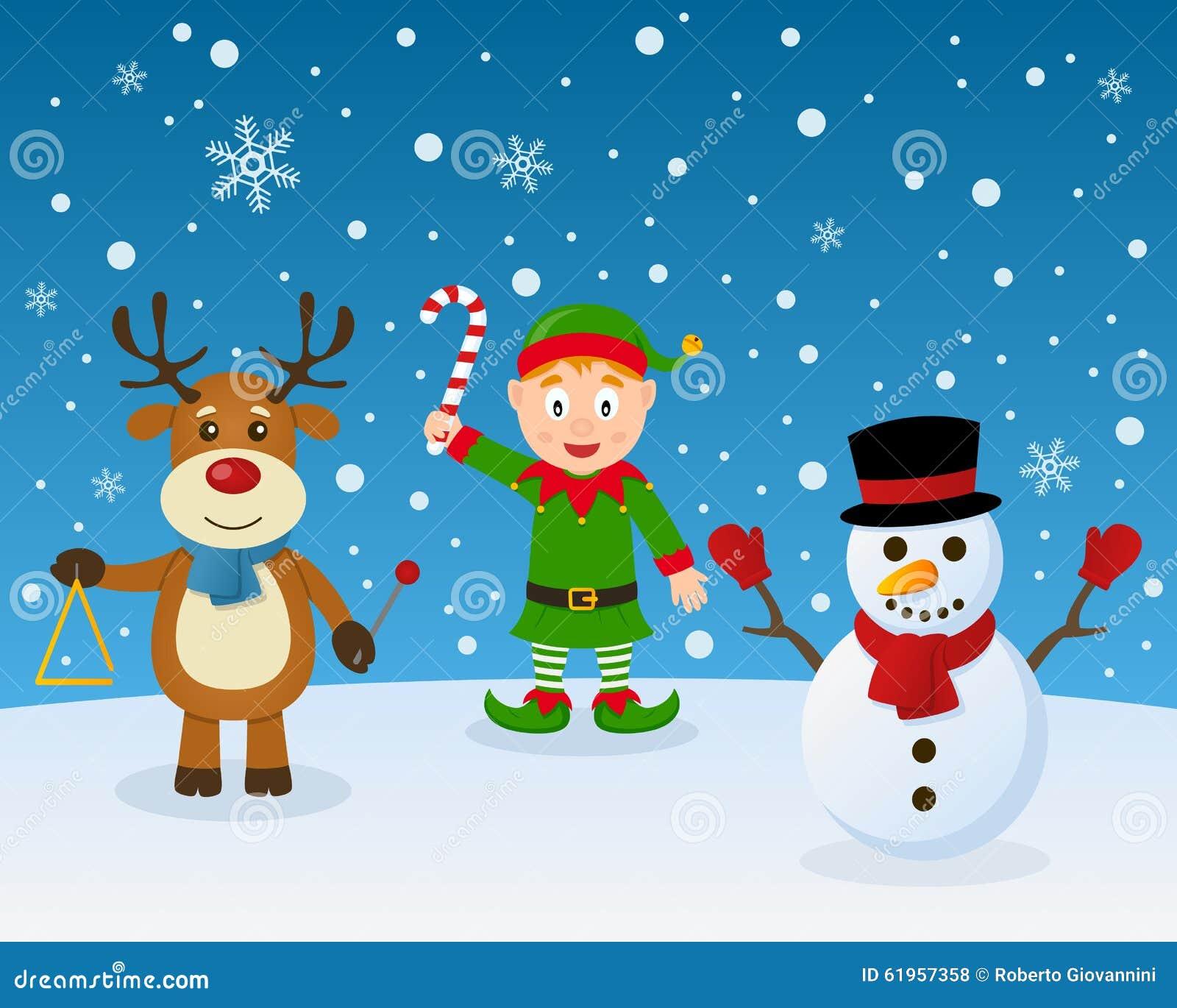 frohe weihnacht elfen ren schneemann vektor abbildung. Black Bedroom Furniture Sets. Home Design Ideas