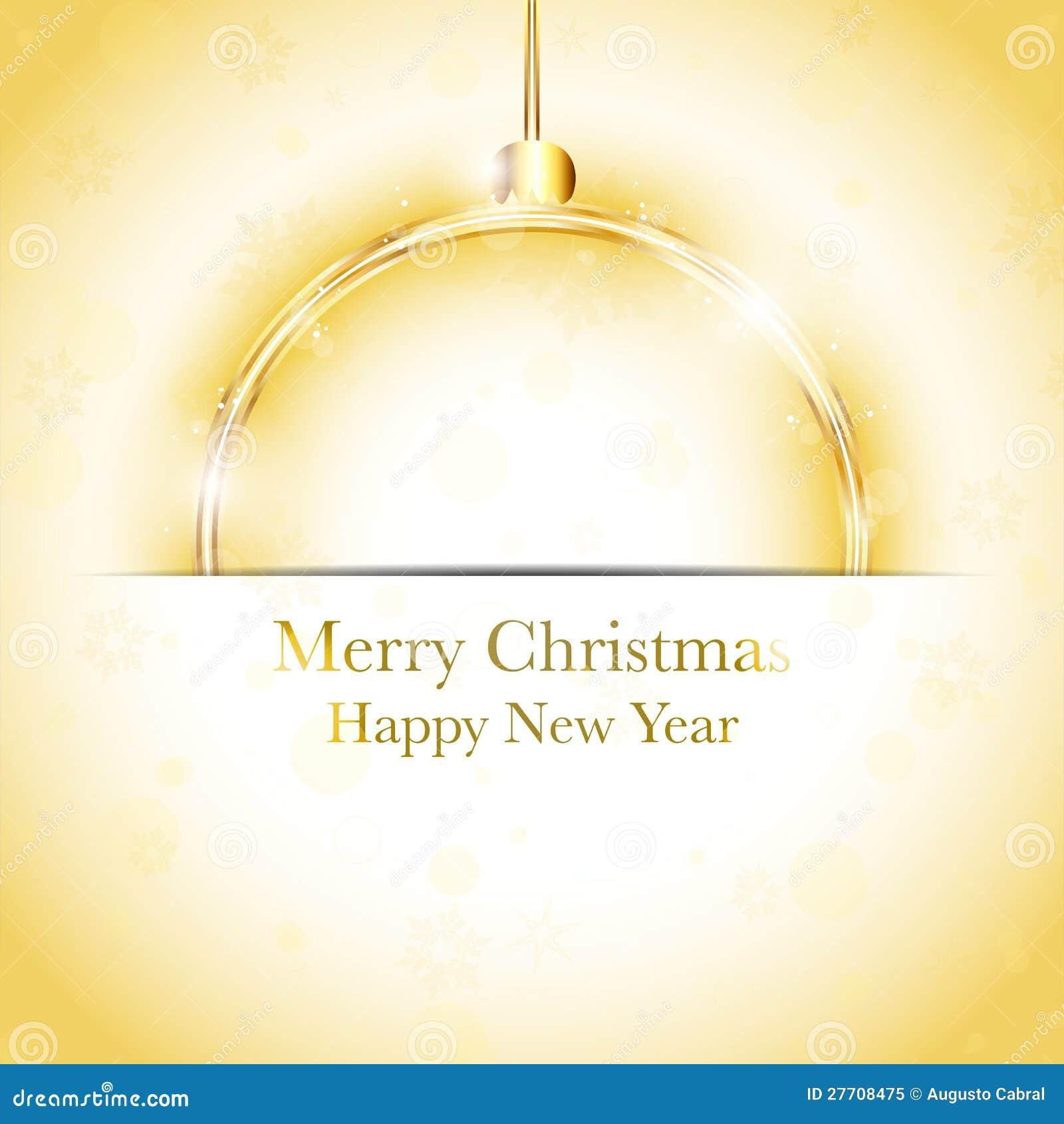 Frohe Weihnacht-glückliches Neues Jahr-Kugel Golden Vektor Abbildung ...
