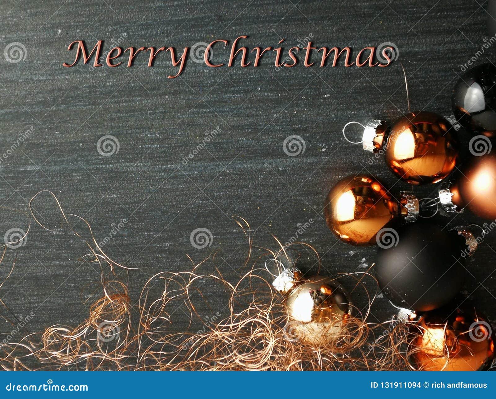 Frohe Weihnachten Text Karte.Frohe Weihnacht Karten Flitter Schwarz Und Kupfern Stockfoto