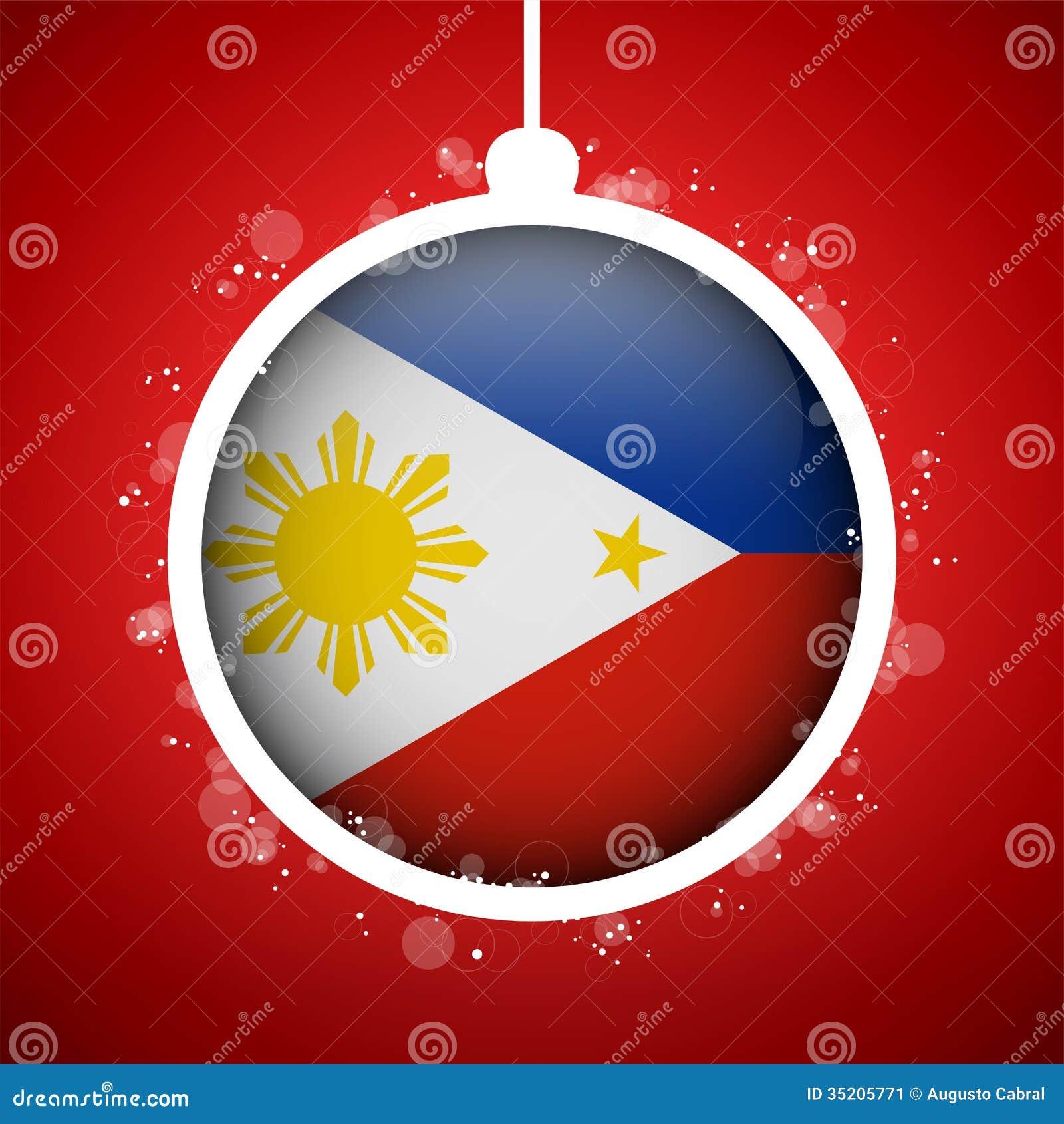 frohe weihnacht roter ball mit flagge philippinen stockbild bild 35205771