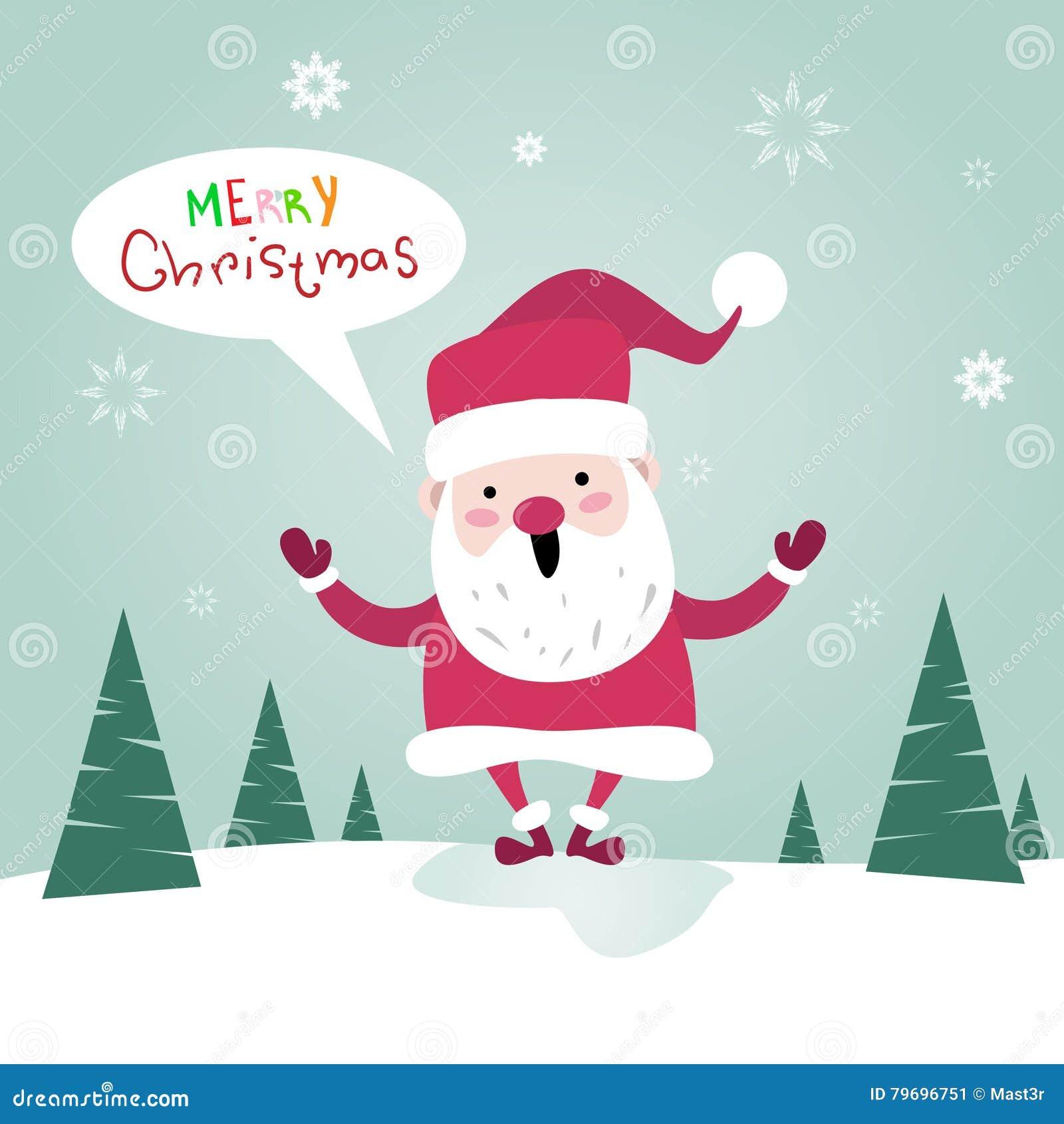 Frohe Weihnacht-Santa Clause Happy New Year-Plakat-Gruß-Karte Vektor ...