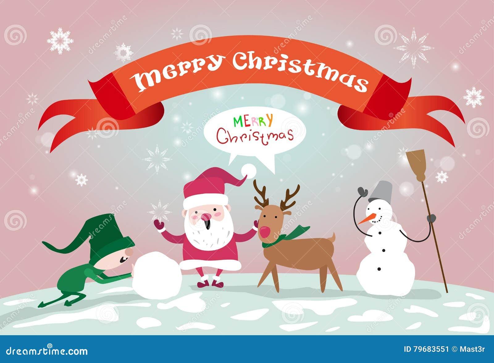 Frohe Weihnacht-Santa Clause Reindeer Elf Making-Schneemann-guten ...