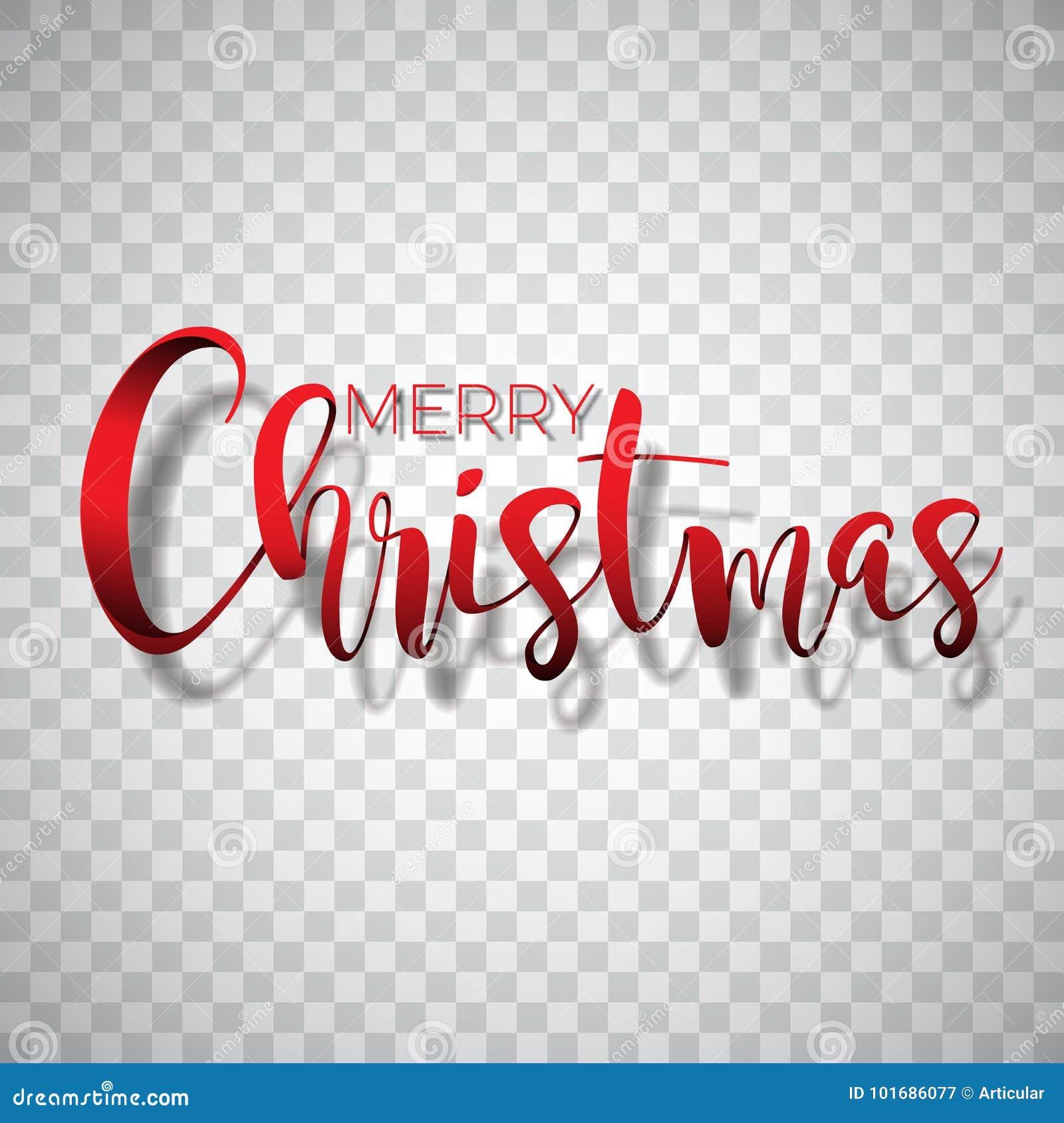 Frohe Weihnacht-Typografieillustration auf einem transparenten Hintergrund Vector Logo, Embleme, Textdesign für den Gruß