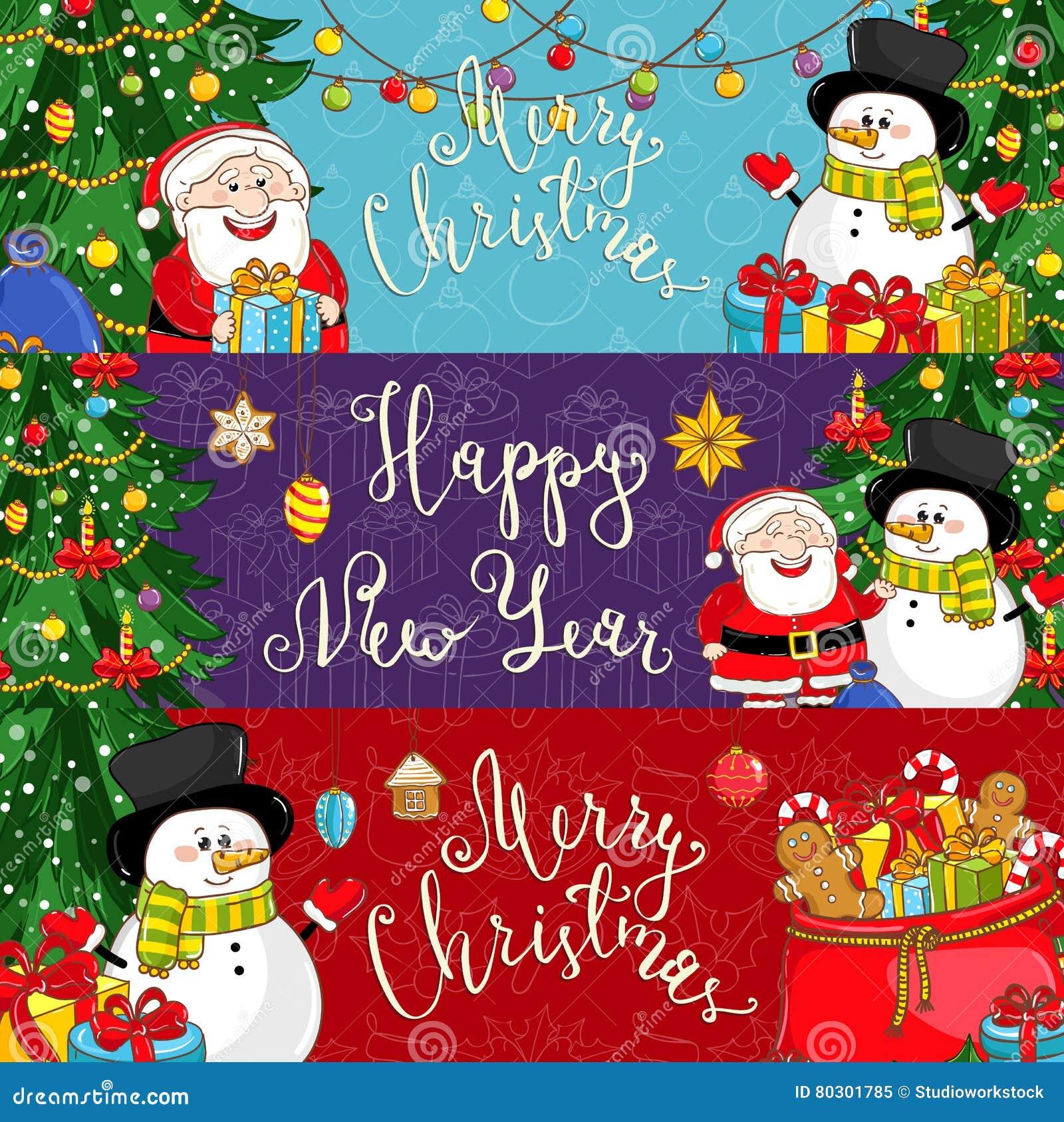 Frohe Weihnacht-und guten Rutsch ins Neue Jahr-Vektor-Fahnen