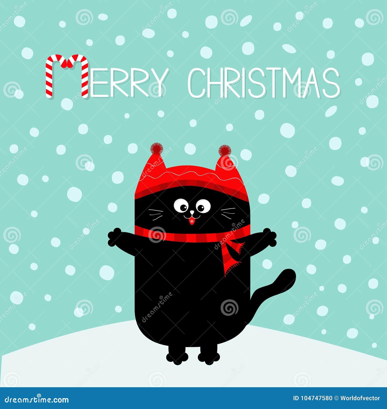 Lustige Bilder Frohe Weihnachten.Frohe Weihnacht Zuckerstangetext Kätzchen Der Schwarzen Katze Roter