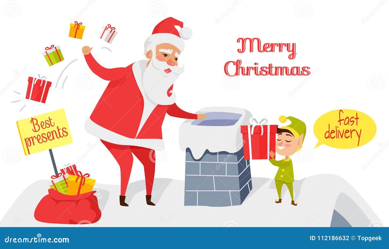 Frohe Weihnachten Beste Geschenke Schnelle Anlieferung Vektor ...