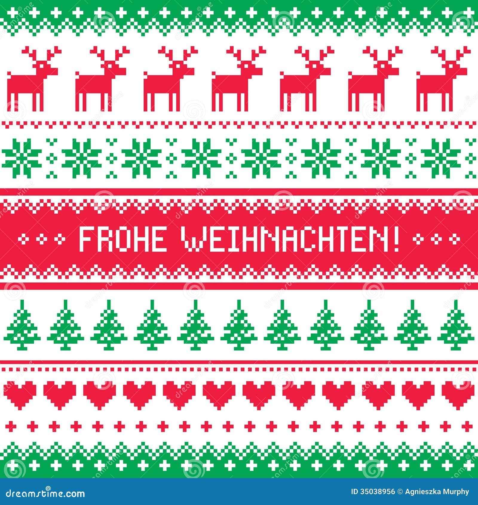 frohe weihnachten card scandynavian christmas pattern. Black Bedroom Furniture Sets. Home Design Ideas
