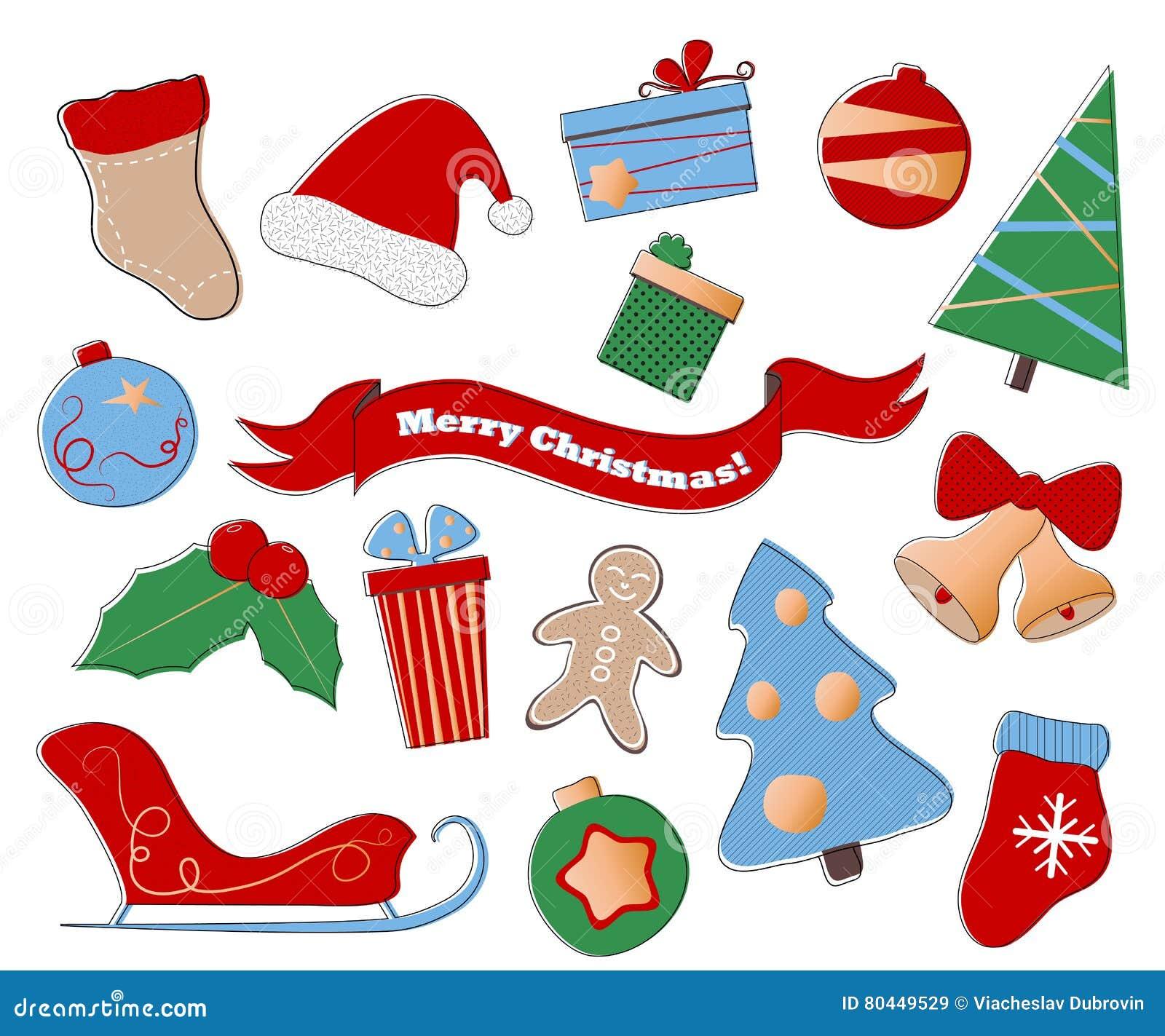 Frohe Weihnachten Clipart Festlicher Satz Winterurlaubikonen Auf ...