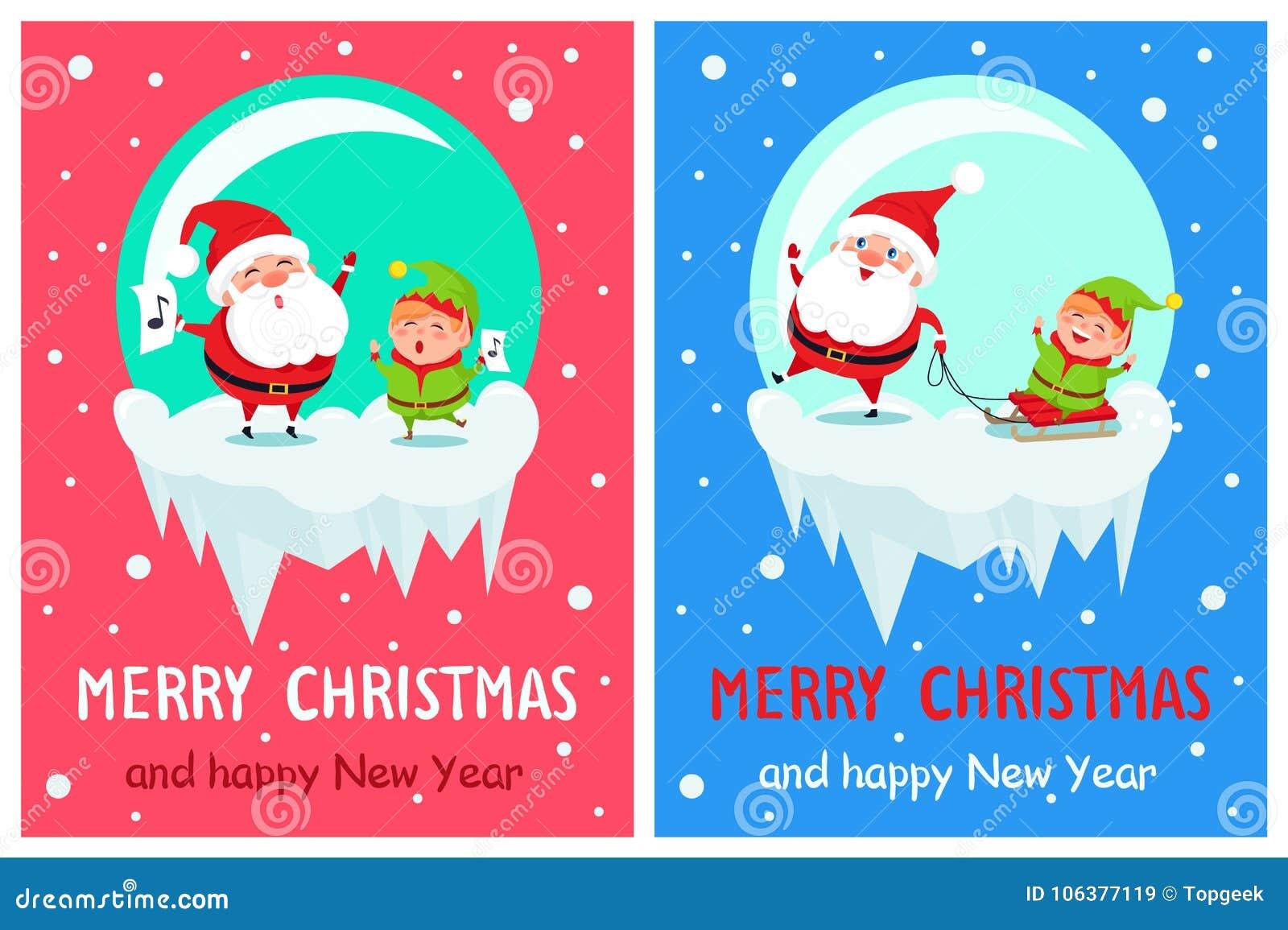Frohe Weihnachten, Die Santa Vector Illustration Singen Vektor ...