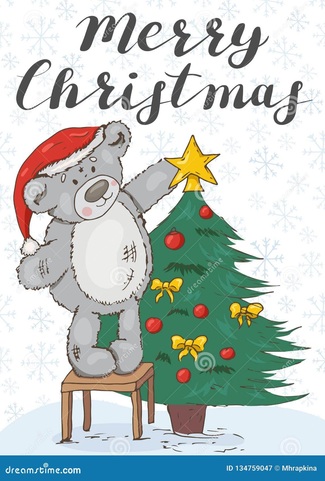 Frohe Weihnachten Festliche Karte mit einem Teddybären