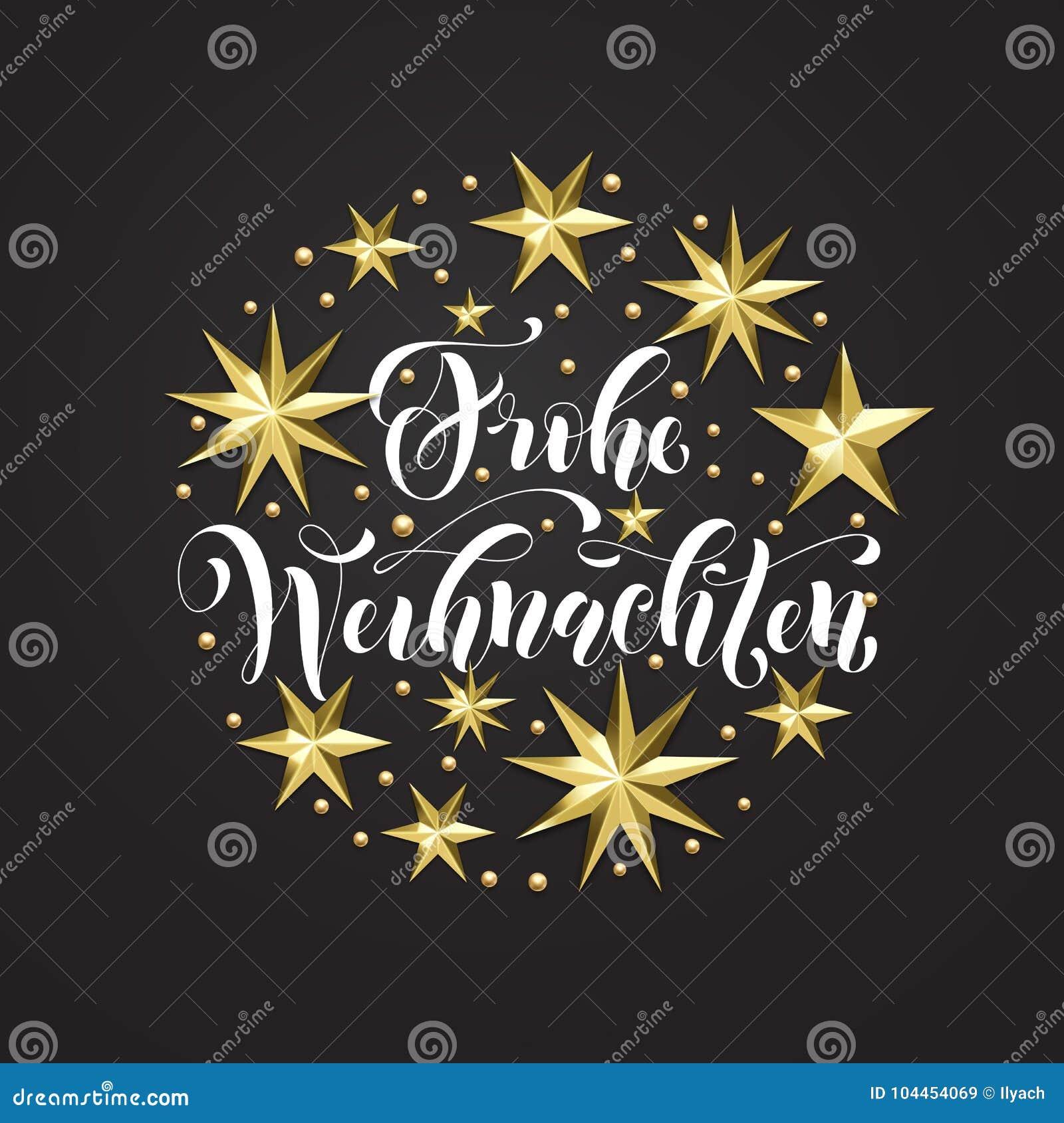 Weihnachten Bilder Mit Text.Frohe Weihnachten German Merry Christmas Golden Decoration