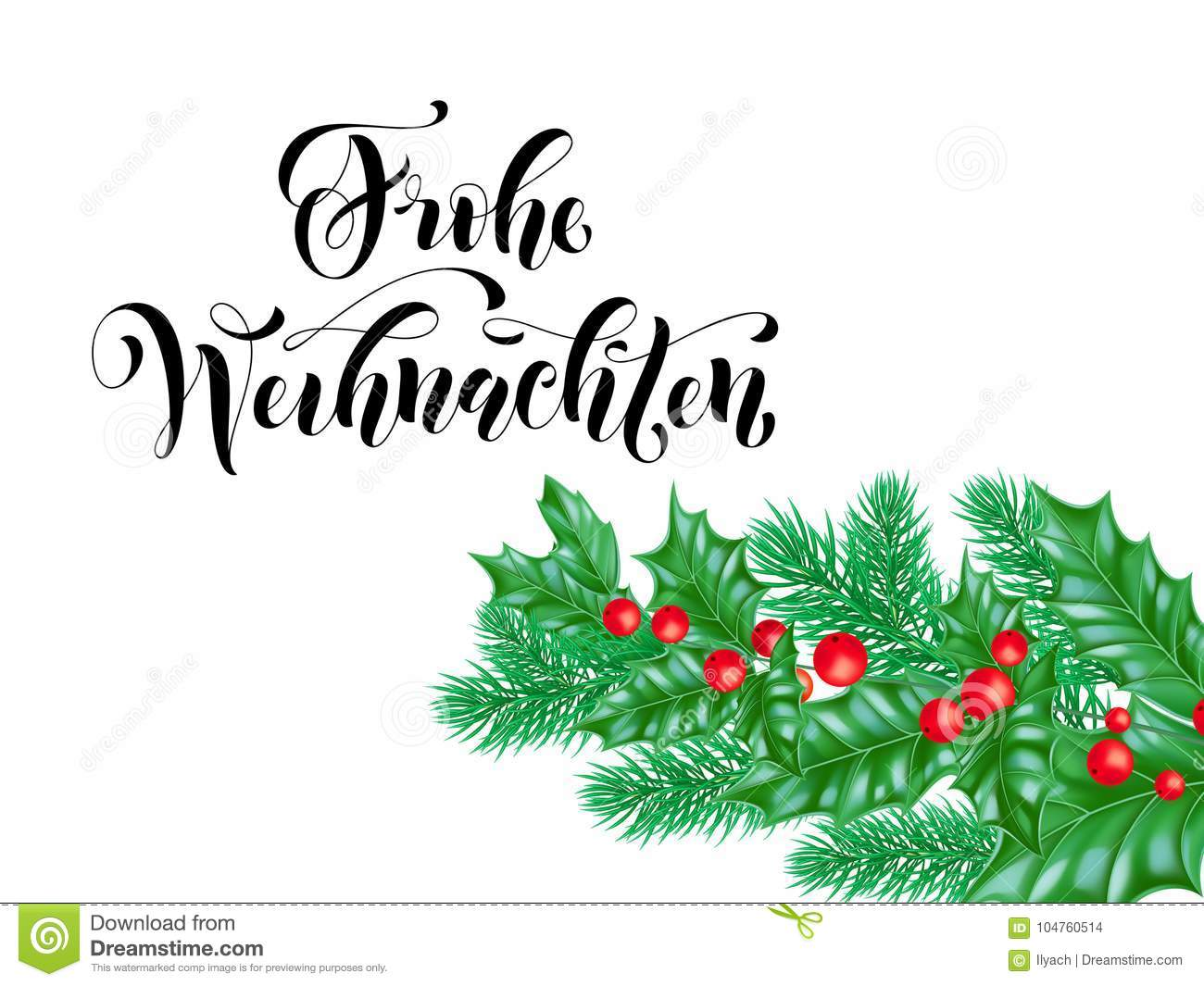 Frohe Weihnachten German Merry Christmas Holiday Hand Drawn