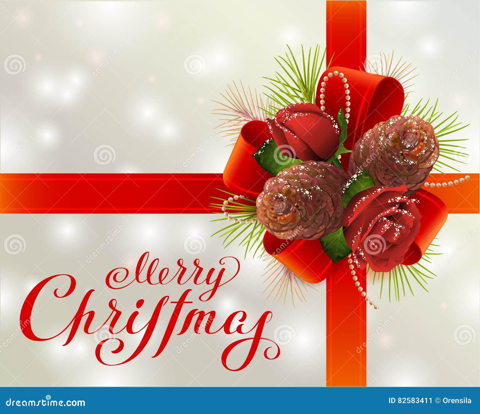 Frohe Weihnachten Grußkarte Mit Rotem Band, Tannenzapfen ...