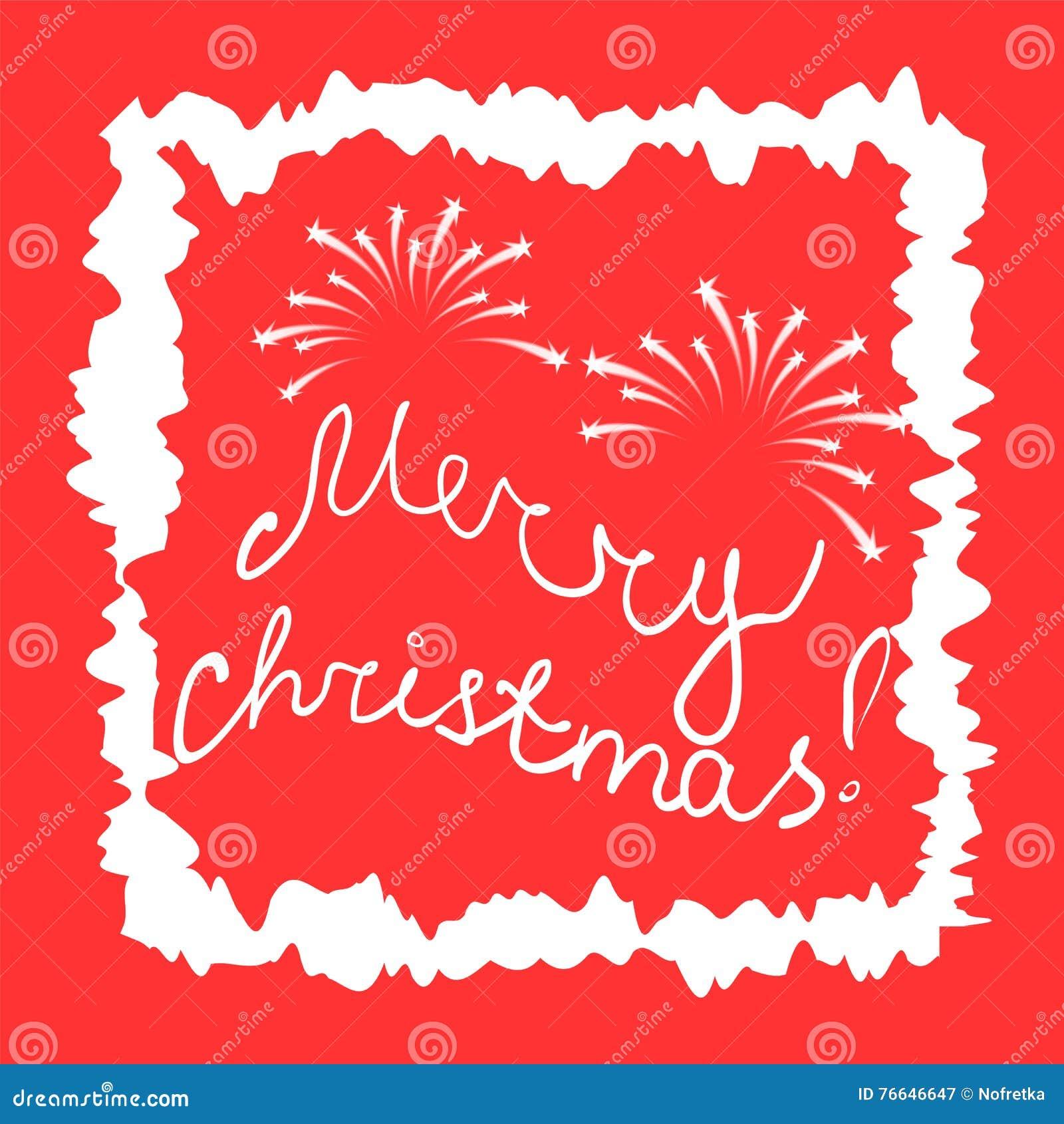 Frohe Weihnachten! Handgeschriebene Buchstaben Und Feuerwerk Im ...