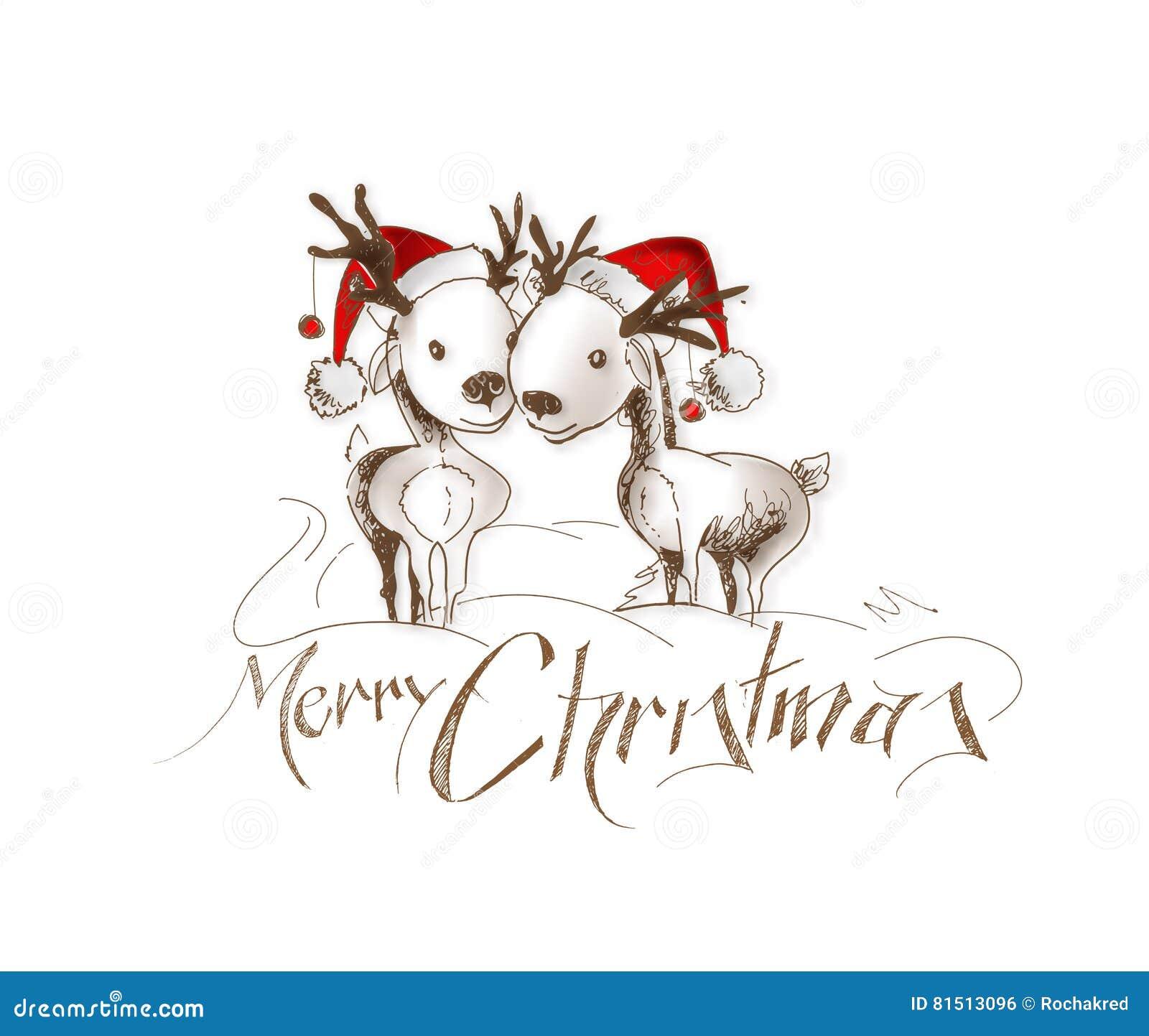 Frohe Weihnachten! Karikatur-Art-Handflüchtige Zeichnung Von Paaren ...