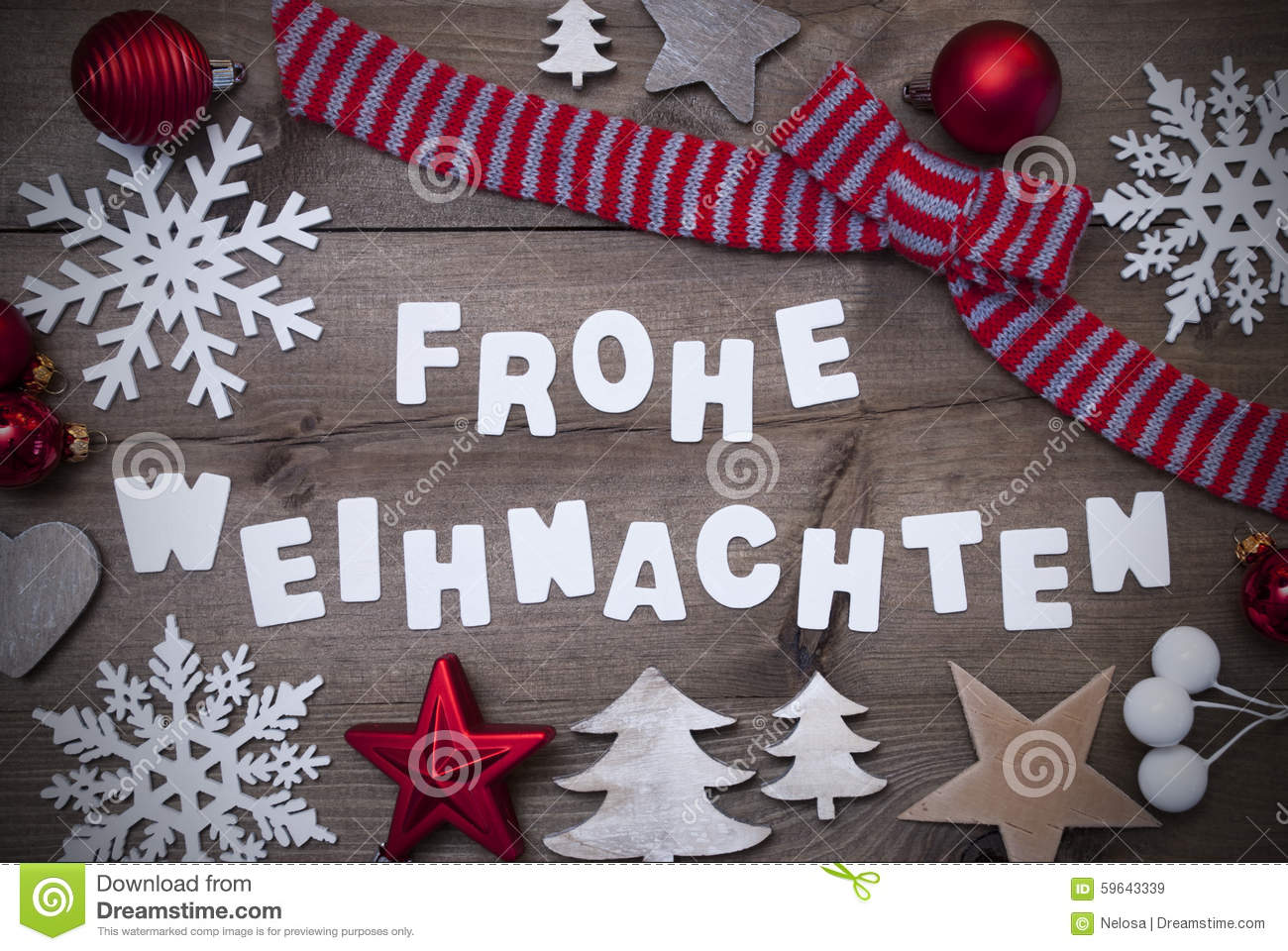 Bilder Zu Frohe Weihnachten.Frohe Weihnachten Mean Merry Christmas Red Loop Decoration