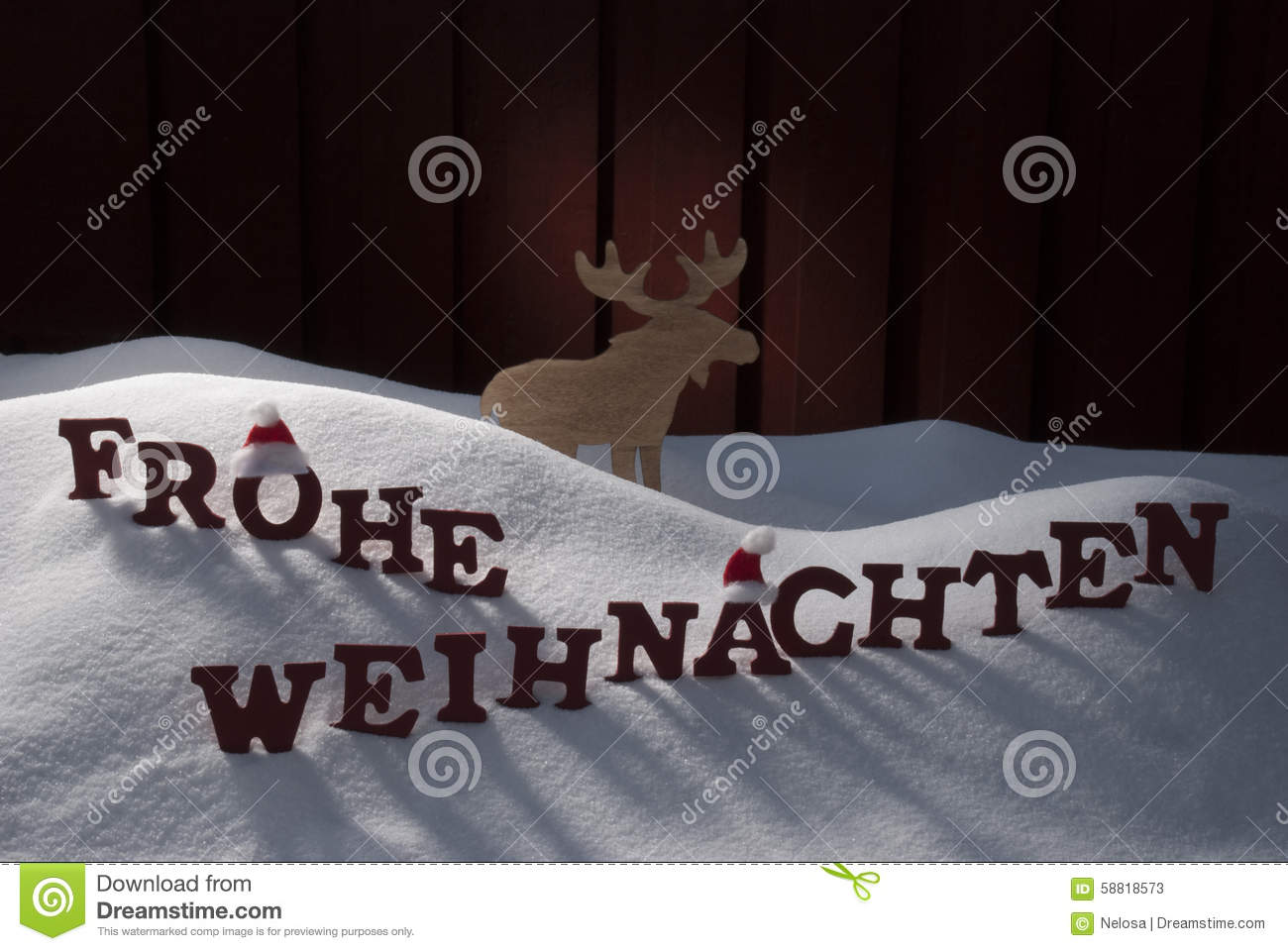 frohe weihnachten means merry christmas moose snow stock. Black Bedroom Furniture Sets. Home Design Ideas
