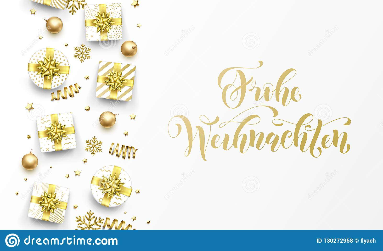 Frohe Weihnachten Gold.Frohe Weihnachten Merry Christmas Golden German Greeting Card Of
