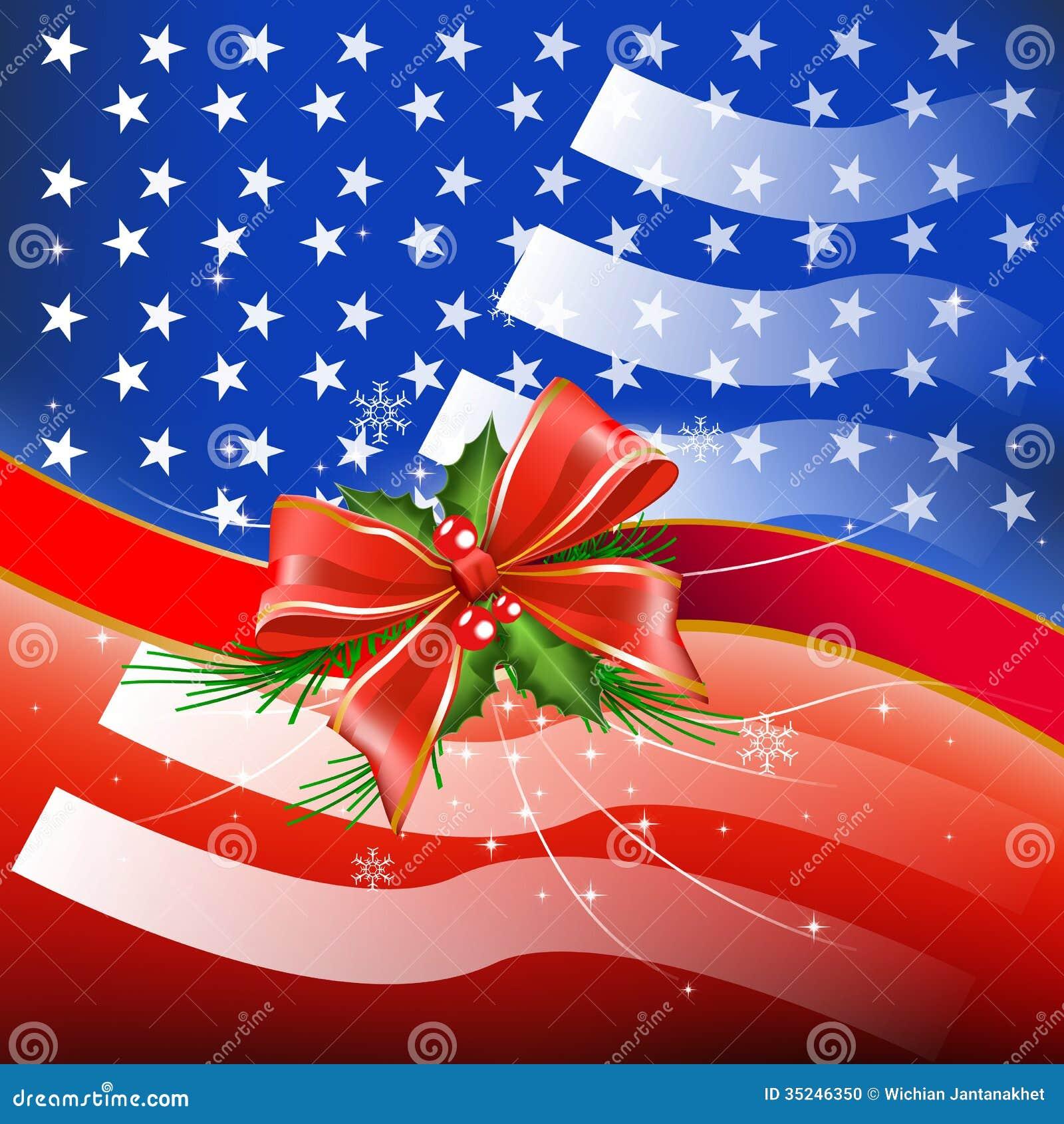 frohe weihnachten mit flagge usa stockfoto bild 35246350. Black Bedroom Furniture Sets. Home Design Ideas