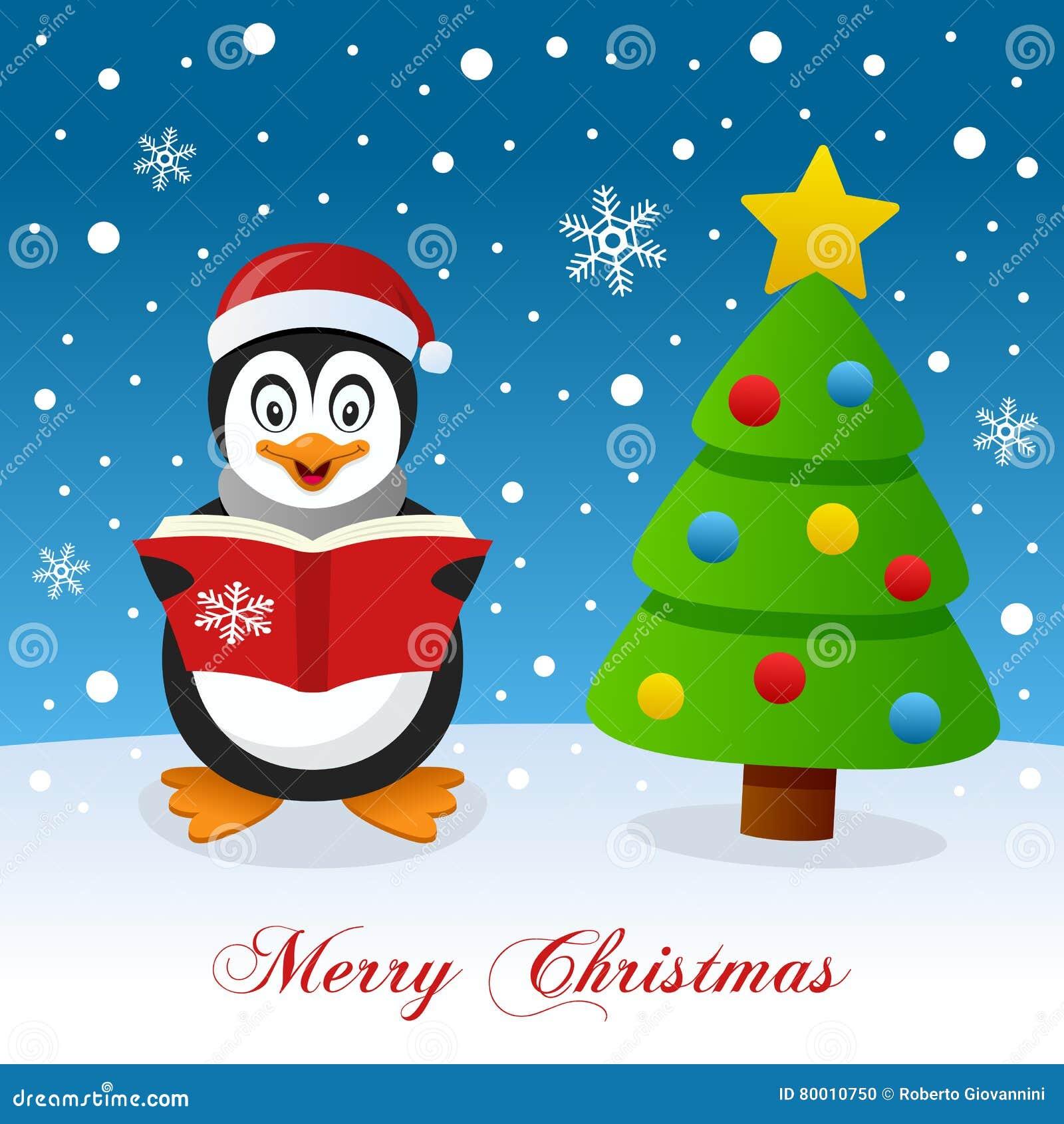 Frohe Weihnachten Mit Pinguin Und Baum Vektor Abbildung ...