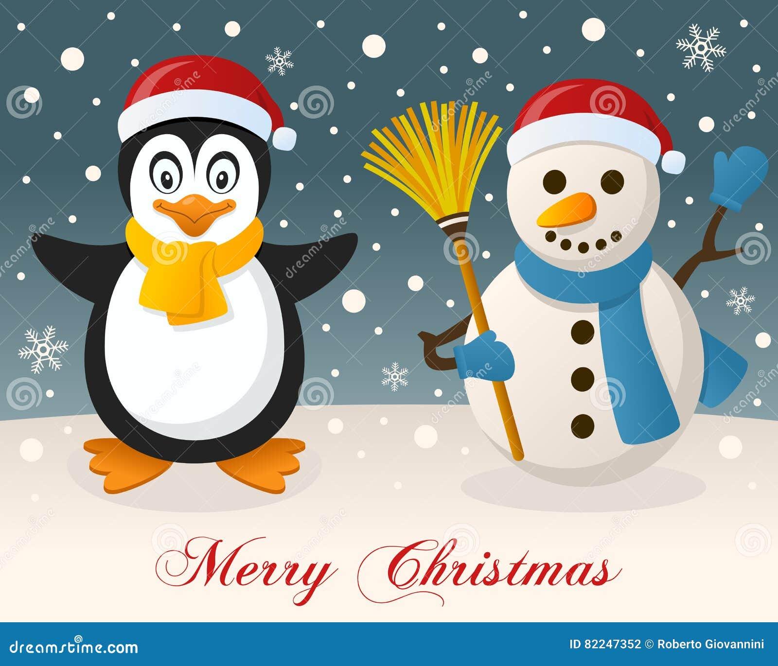 Frohe Weihnachten - Pinguin U. Netter Schneemann Vektor Abbildung ...