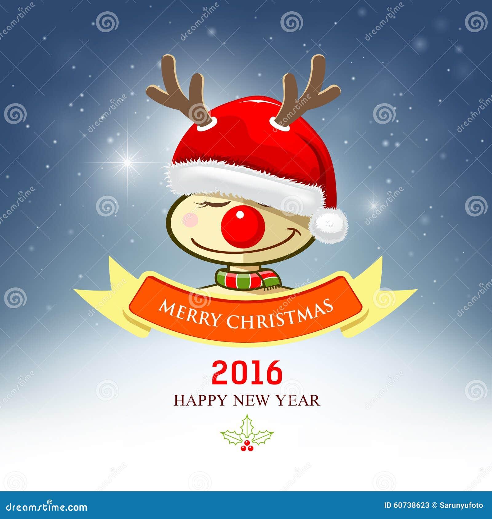 Frohe Weihnachten, Ren Mit Sankt-Hut Vektor Abbildung - Illustration ...