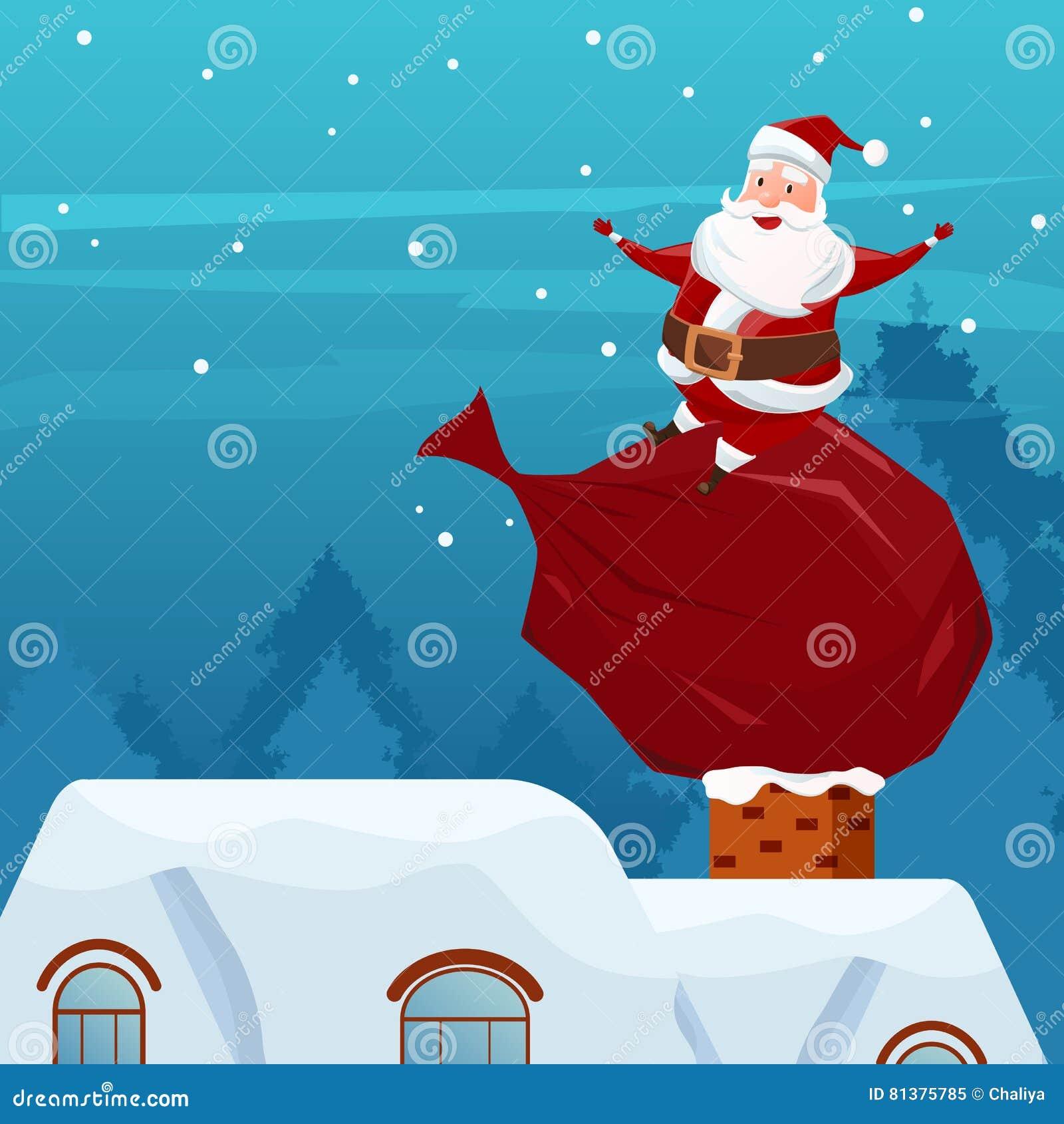 Frohe Weihnachten Santa Claus, Die Auf Tasche Von Geschenken Auf ...