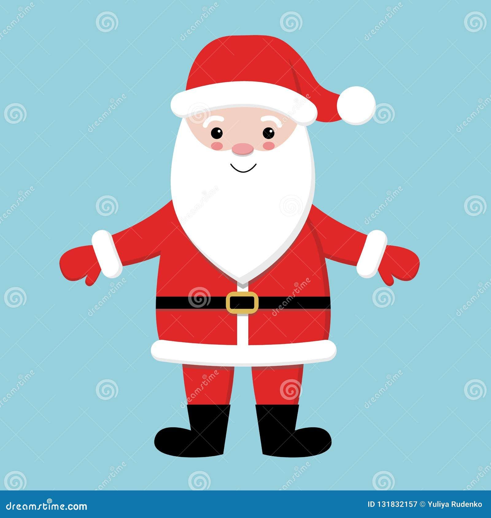 Frohe Weihnachten Santa Claus Die Roten Hut Kostüm Großer Bart Trägt Nettes Karikatur Kawaii Lustiger Charakter Mit Den Offene Stock Abbildung Illustration Von Dezember Person 131832157