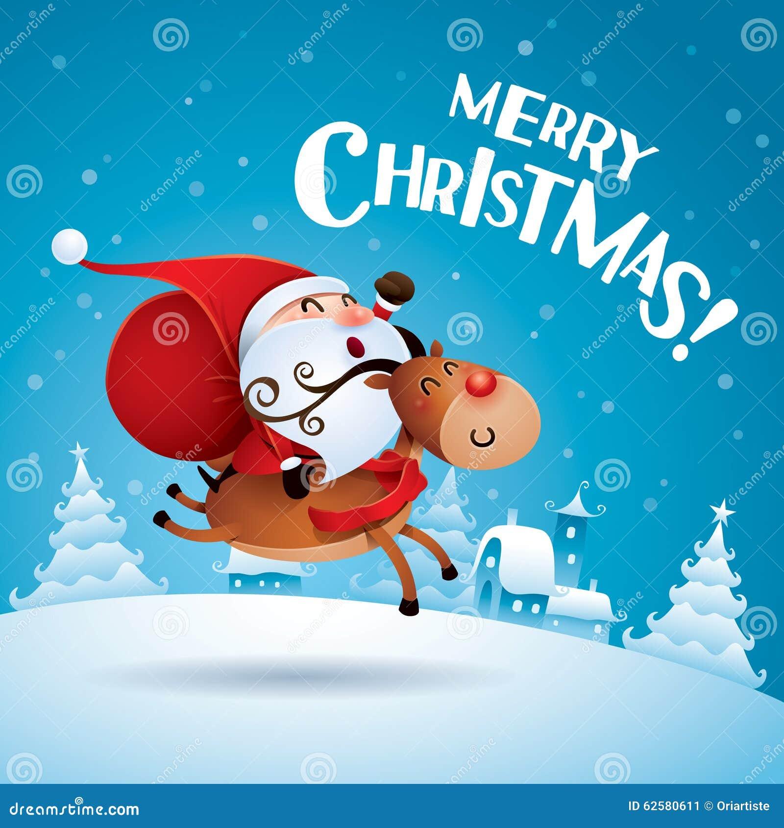 Frohe Weihnachten! Santa Claus, Die Rudolph Reindeer Reitet Vektor ...