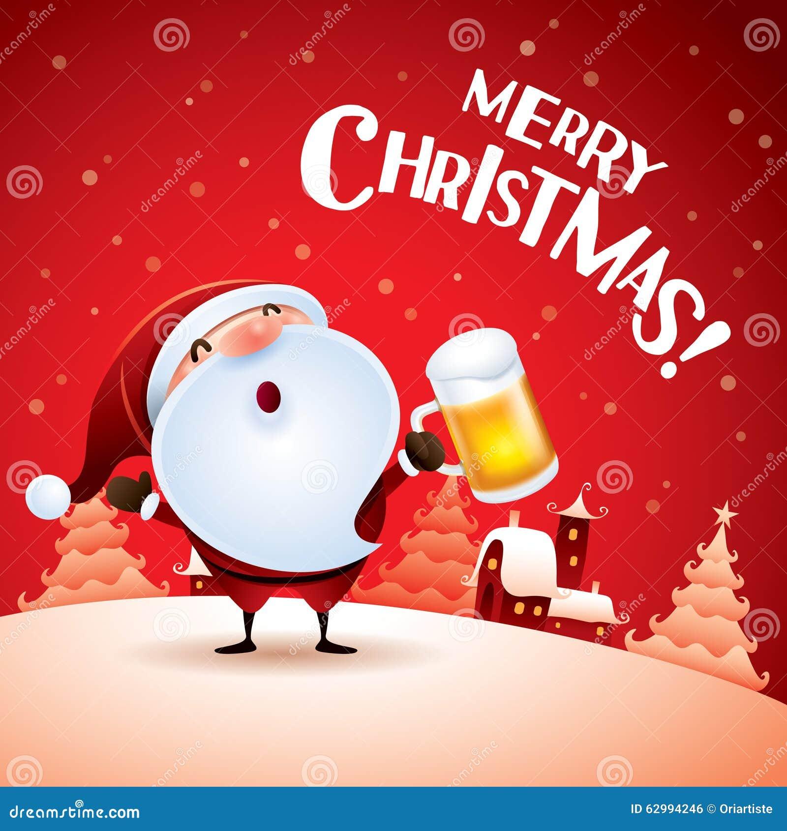 Frohe Weihnachten! Santa Claus Mit Bier Vektor Abbildung ...