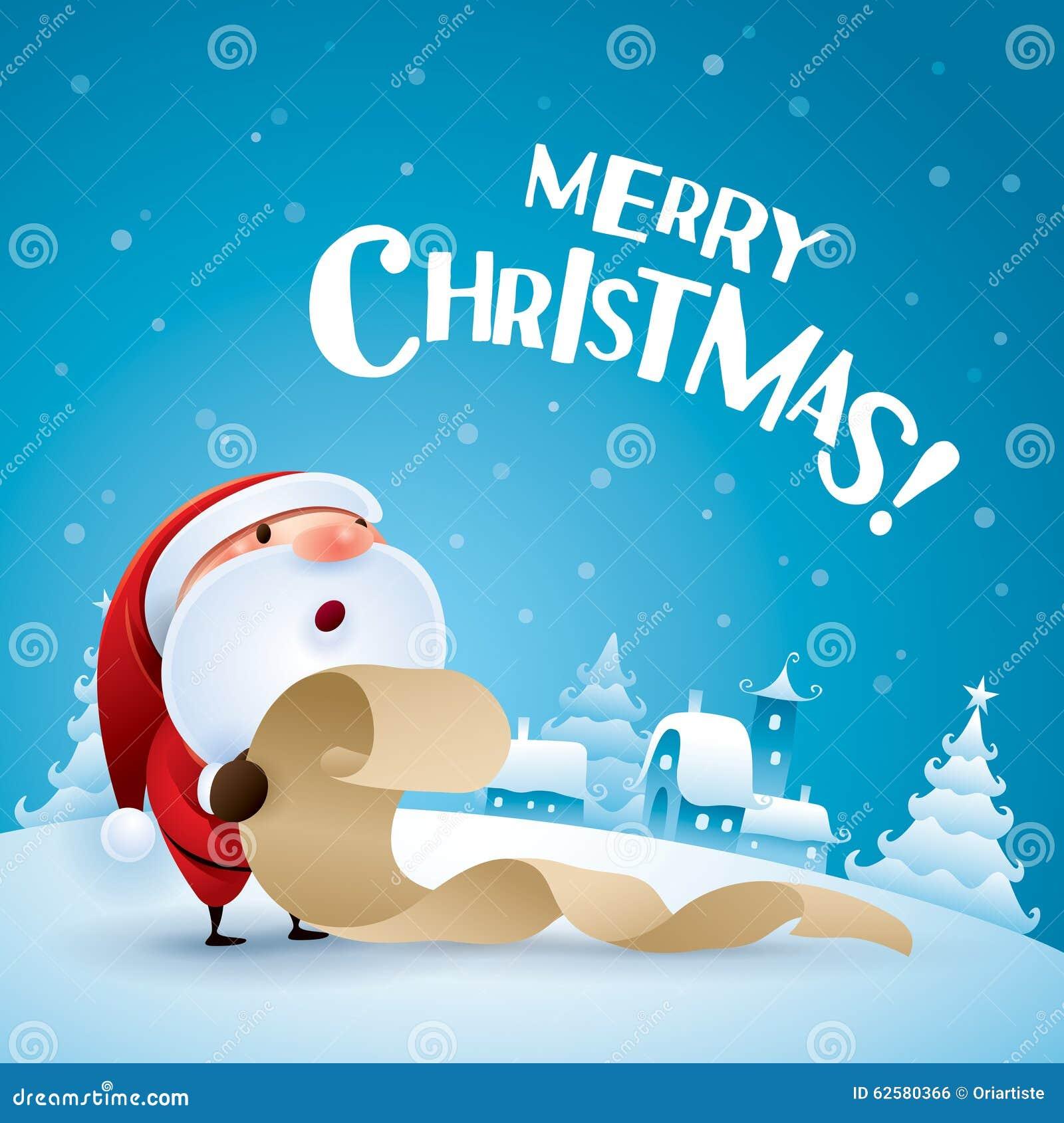 Frohe Weihnachten! Santa Claus-Prüfungsliste Vektor Abbildung ...