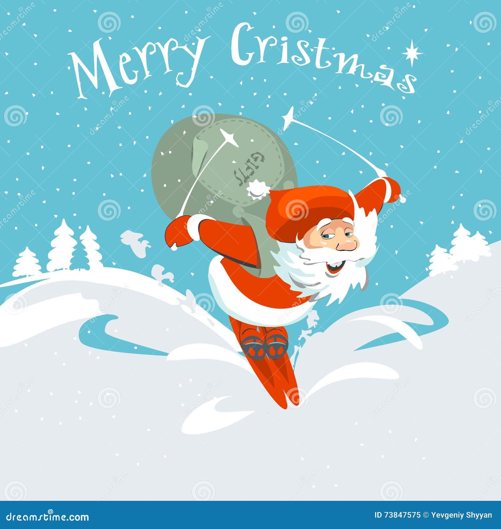 Frohe Weihnachten Santa Claus Und Rotwildkarte Vektor Abbildung ...