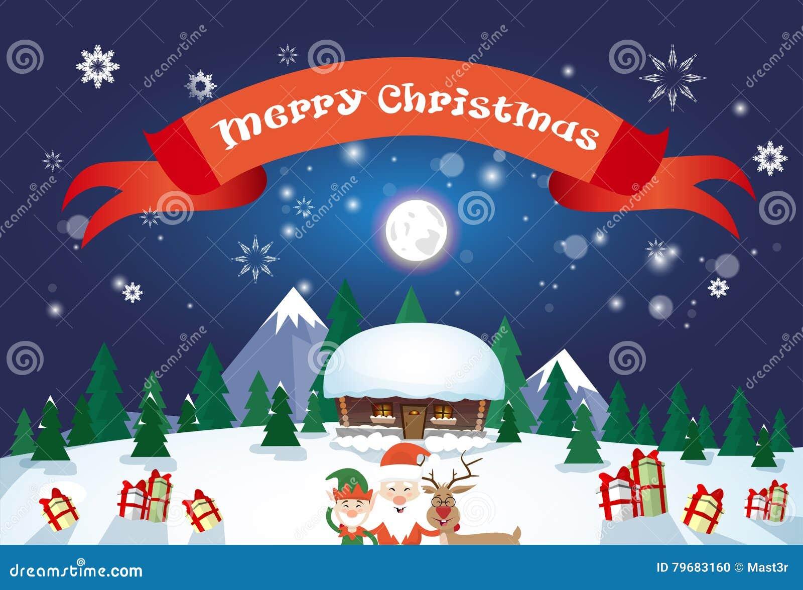 Grüße Frohe Weihnachten.Frohe Weihnachten Santa Clause Reindeer Elf Character über Winter