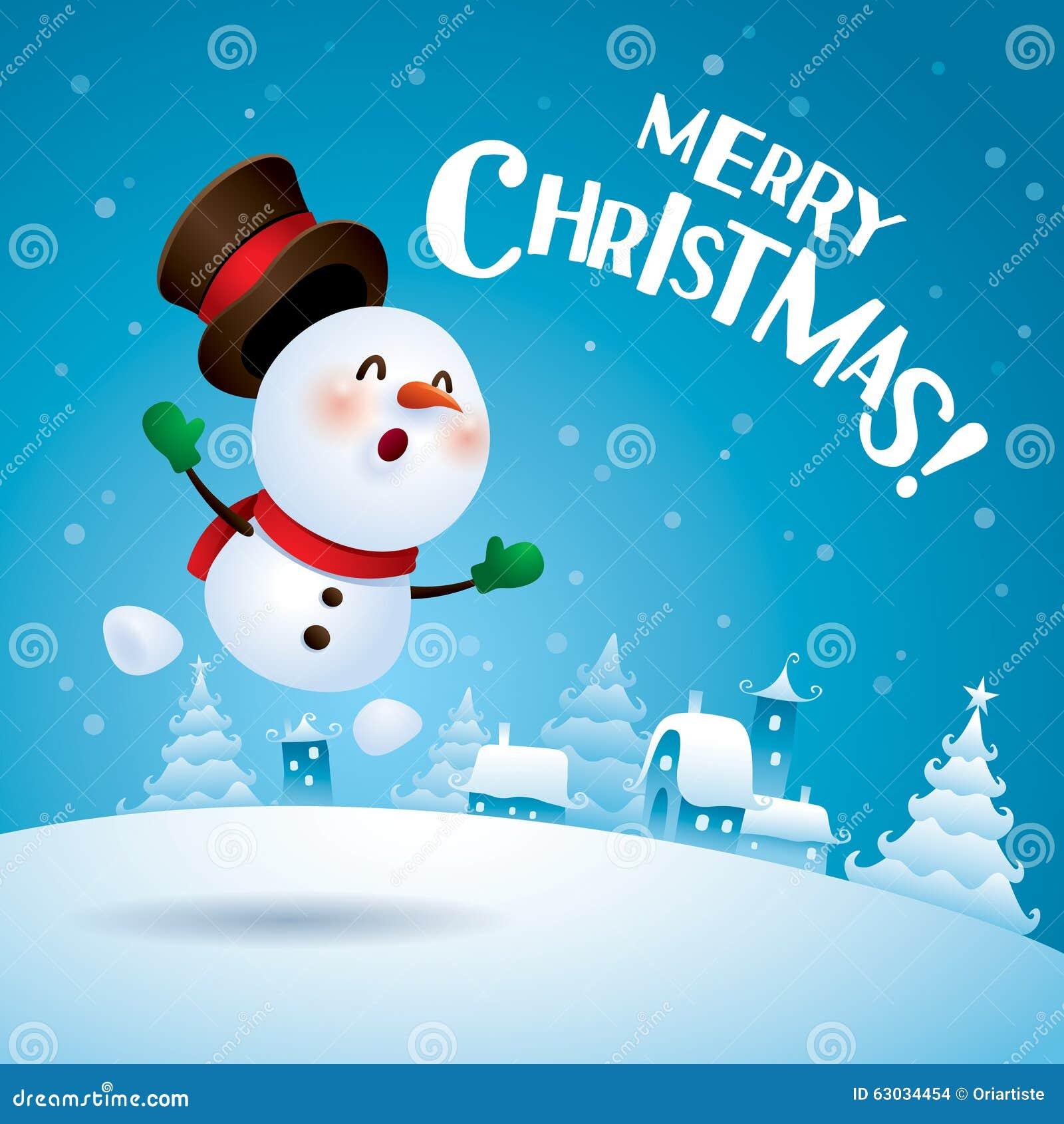 Frohe Weihnachten! Schneemann, der aufgeregt glaubt