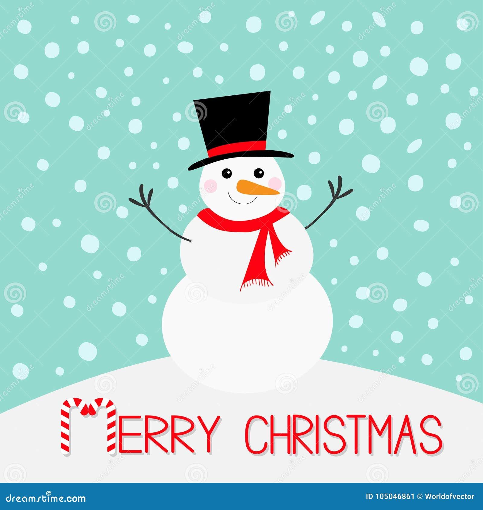 Frohe Weihnachten Schneemann, Karottennase, Hut, Roter Schal Und ...