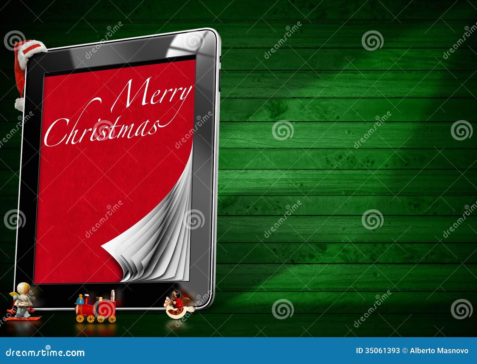 Frohe Weihnachten - Tablet-Computer Stock Abbildung - Illustration ...