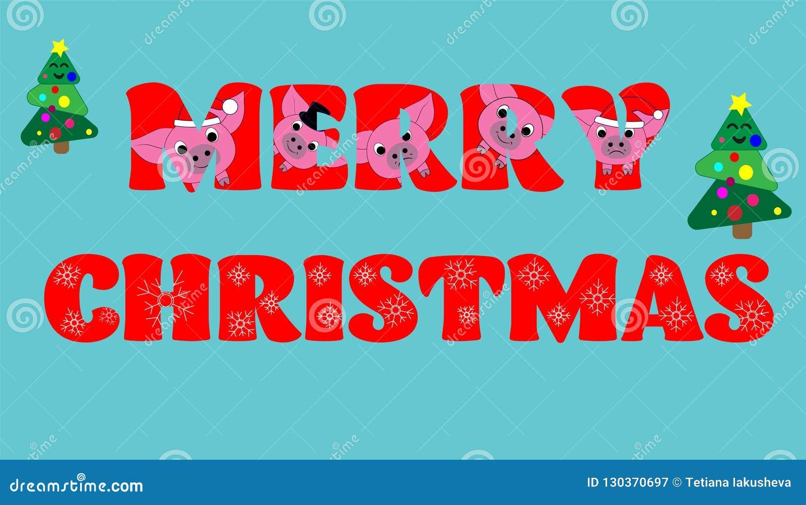 Frohe Weihnachten Text Lustige Rote Buchstaben Vektor Abbildung ...