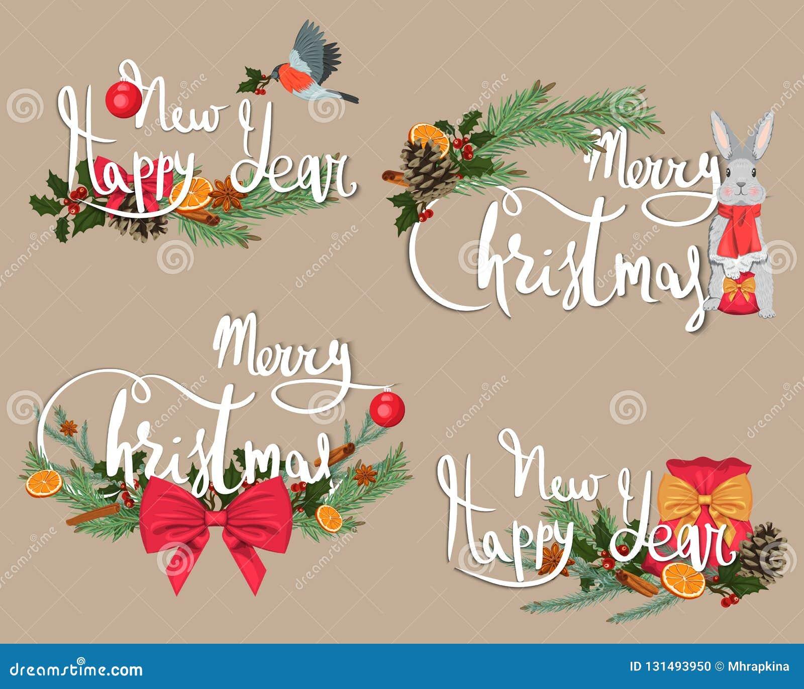 Frohe Weihnachten und ein glückliches neues Jahr Weihnachtskarten und -papier mit Dekorationen und Exemplarplatz