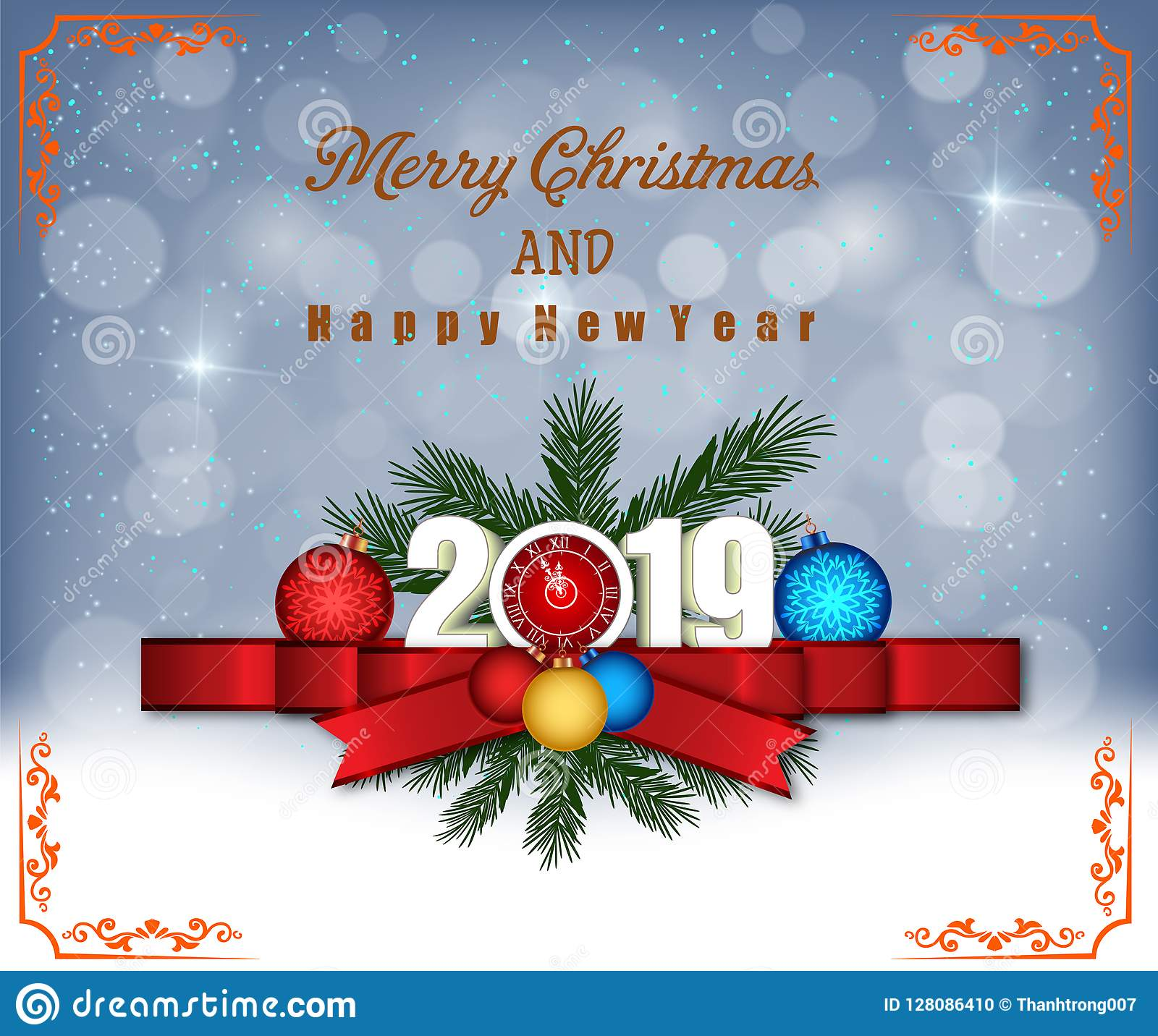 Frohe Weihnachten Und Guten Rutsch In Neues Jahr.Frohe Weihnachten Und Guten Rutsch Ins Neue Jahr 2019 Vektor