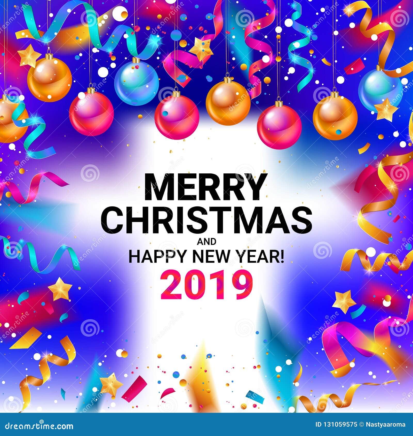 Frohe Weihnachten Und Guten Rutsch In Neues Jahr.Frohe Weihnachten Und Guten Rutsch Ins Neue Jahr 2019 Stock