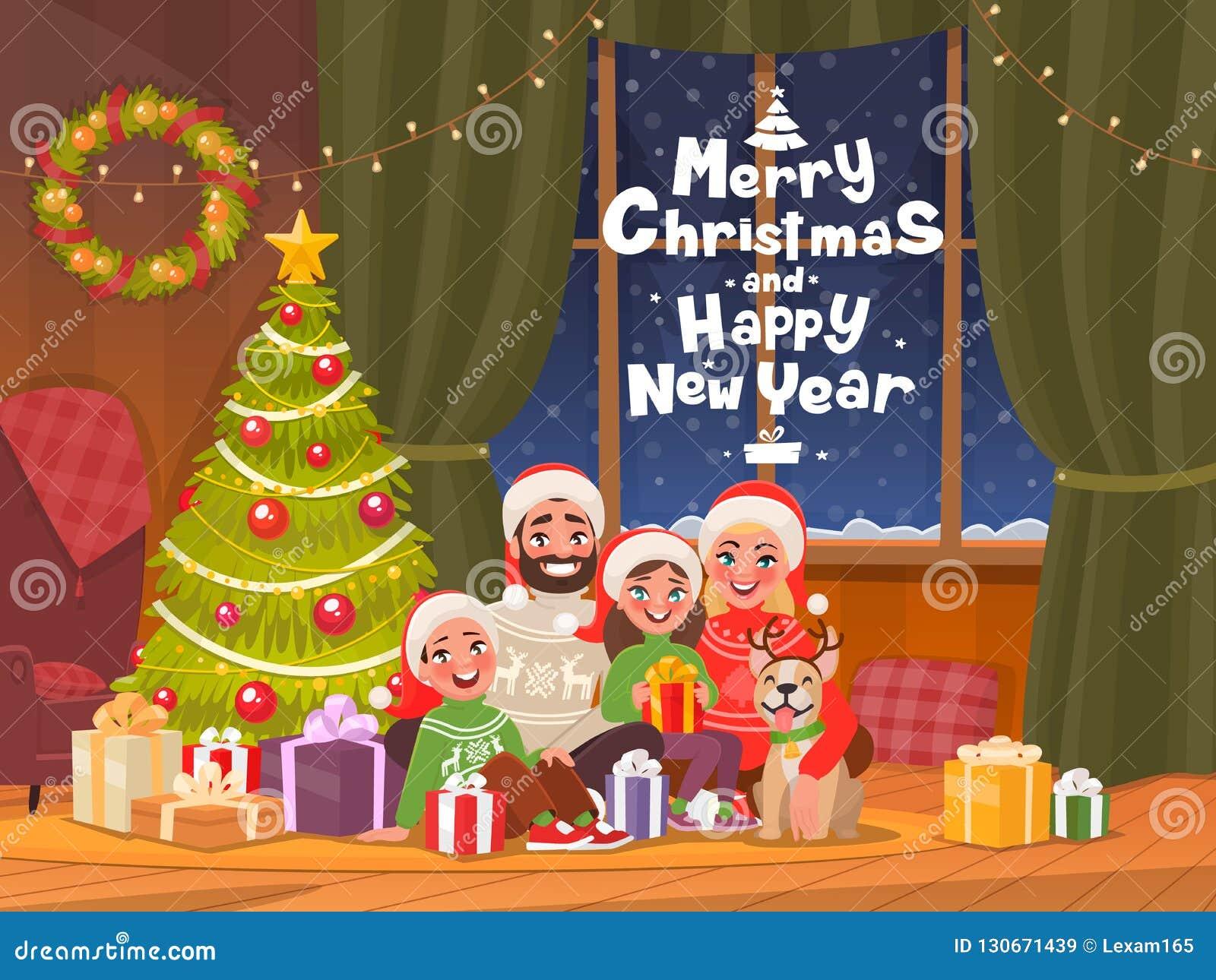 Frohe Weihnachten Familie.Frohe Weihnachten Und Guten Rutsch Ins Neue Jahr Familie Beim