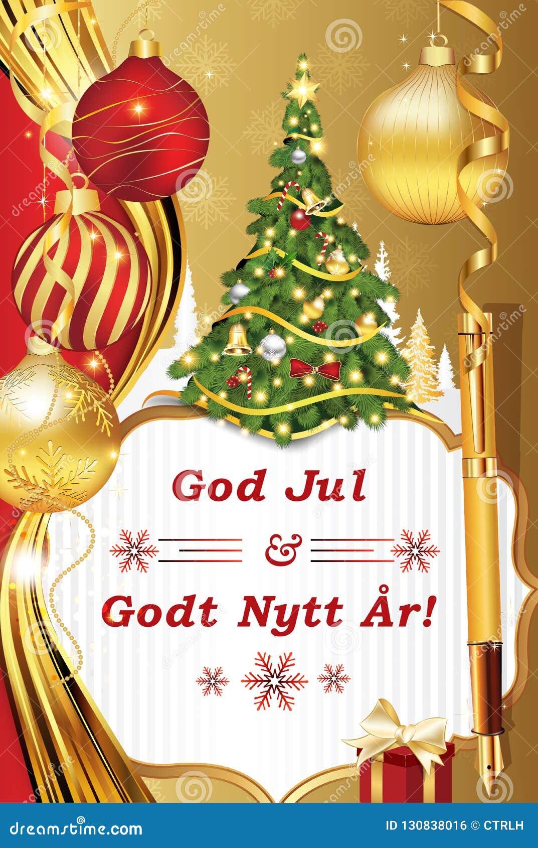 Frohe Weihnachten Norwegisch.Frohe Weihnachten Und Guten Rutsch Ins Neue Jahr Goldene Grußkarte