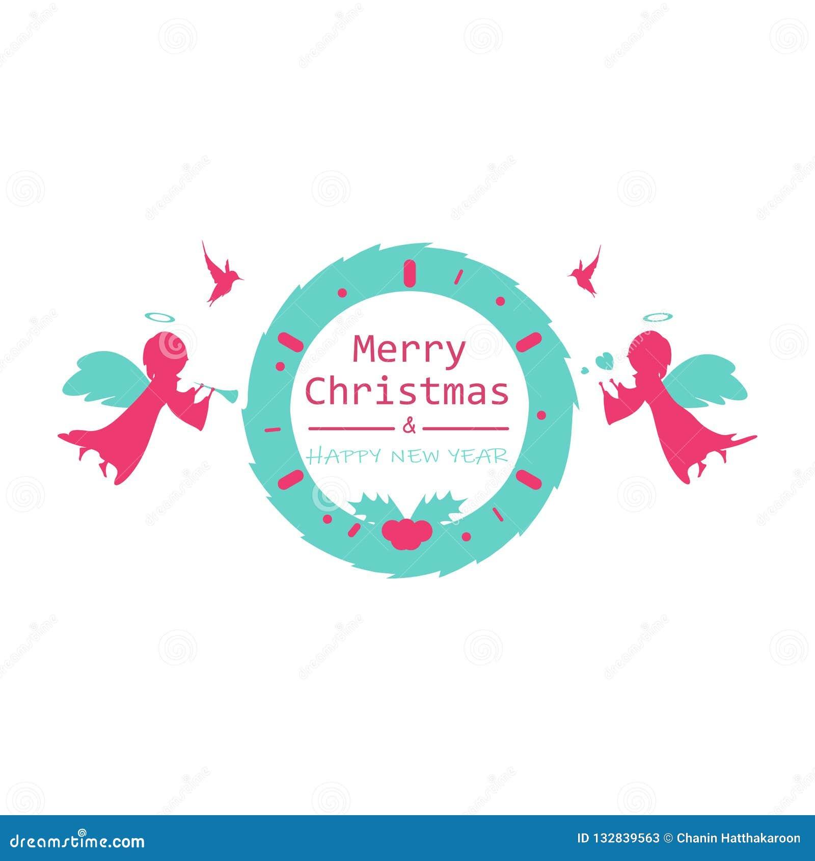 Frohe Weihnachten und guten Rutsch ins Neue Jahr, Logofahnen-Entwurfsweinlese